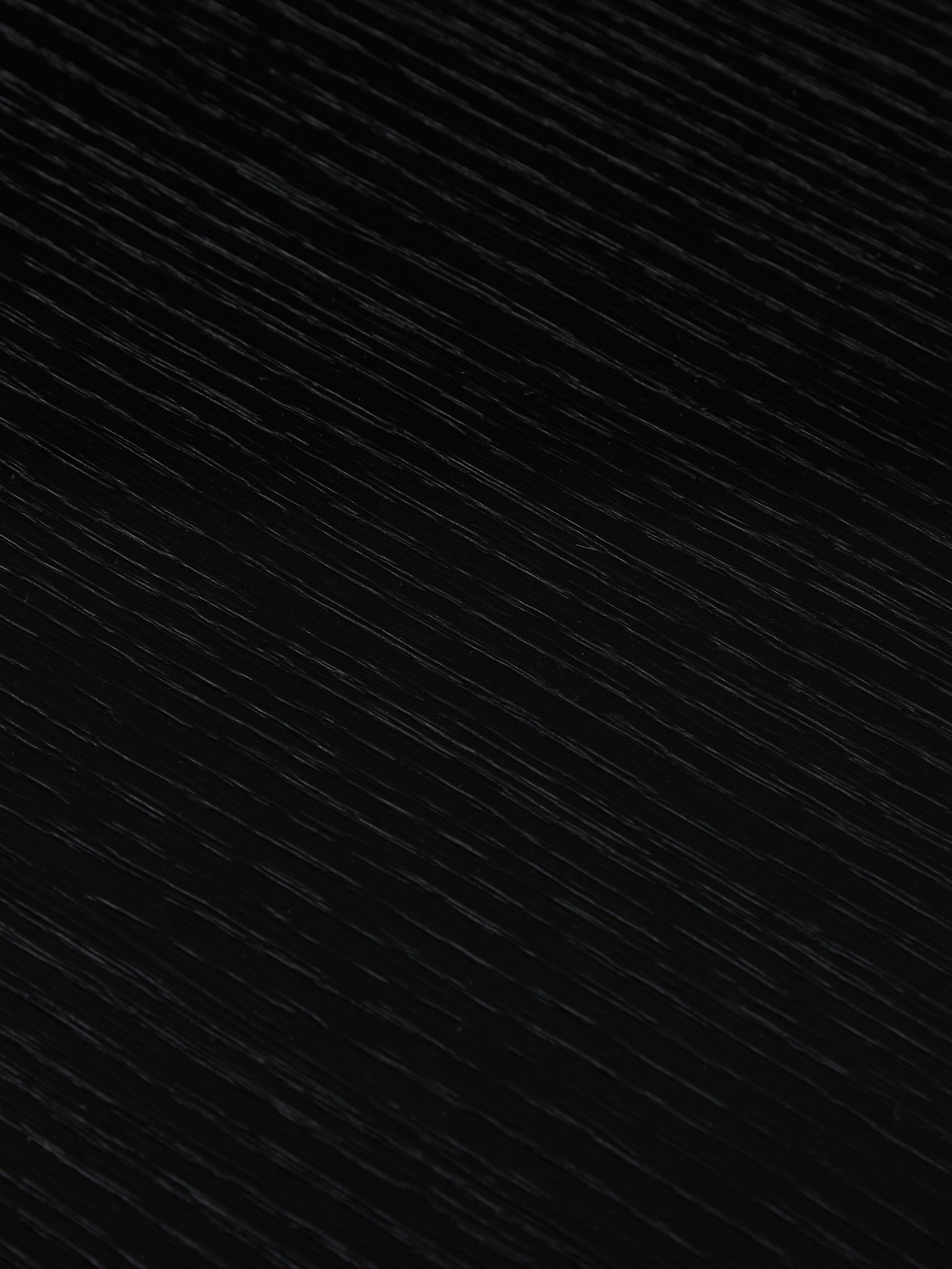 Ovaler Esstisch Toni aus Holz, Mitteldichte Holzfaserplatte (MDF) mit Eichenholzfurnier, lackiert, Eichenholzfurnier, schwarz lackiert, B 200 x T 90 cm