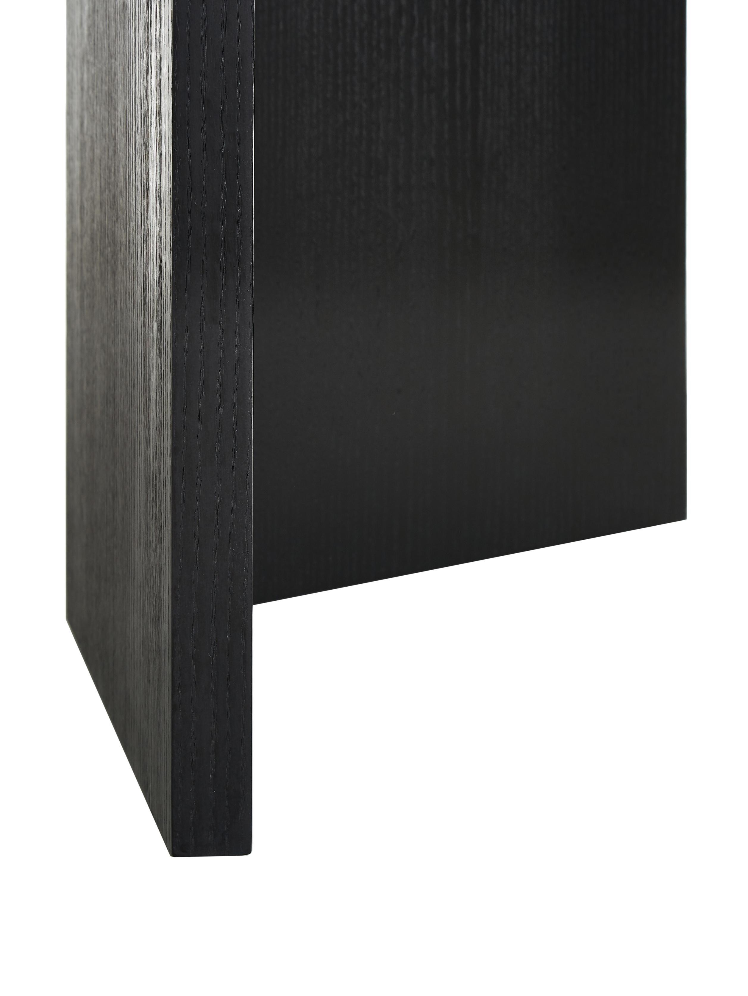 Tavolo ovale in legno Toni, Pannello di fibra a media densità (MDF) con finitura in quercia, verniciato, Legno di quercia impiallacciato, nero verniciato, Larg. 200 x Prof. 90 cm