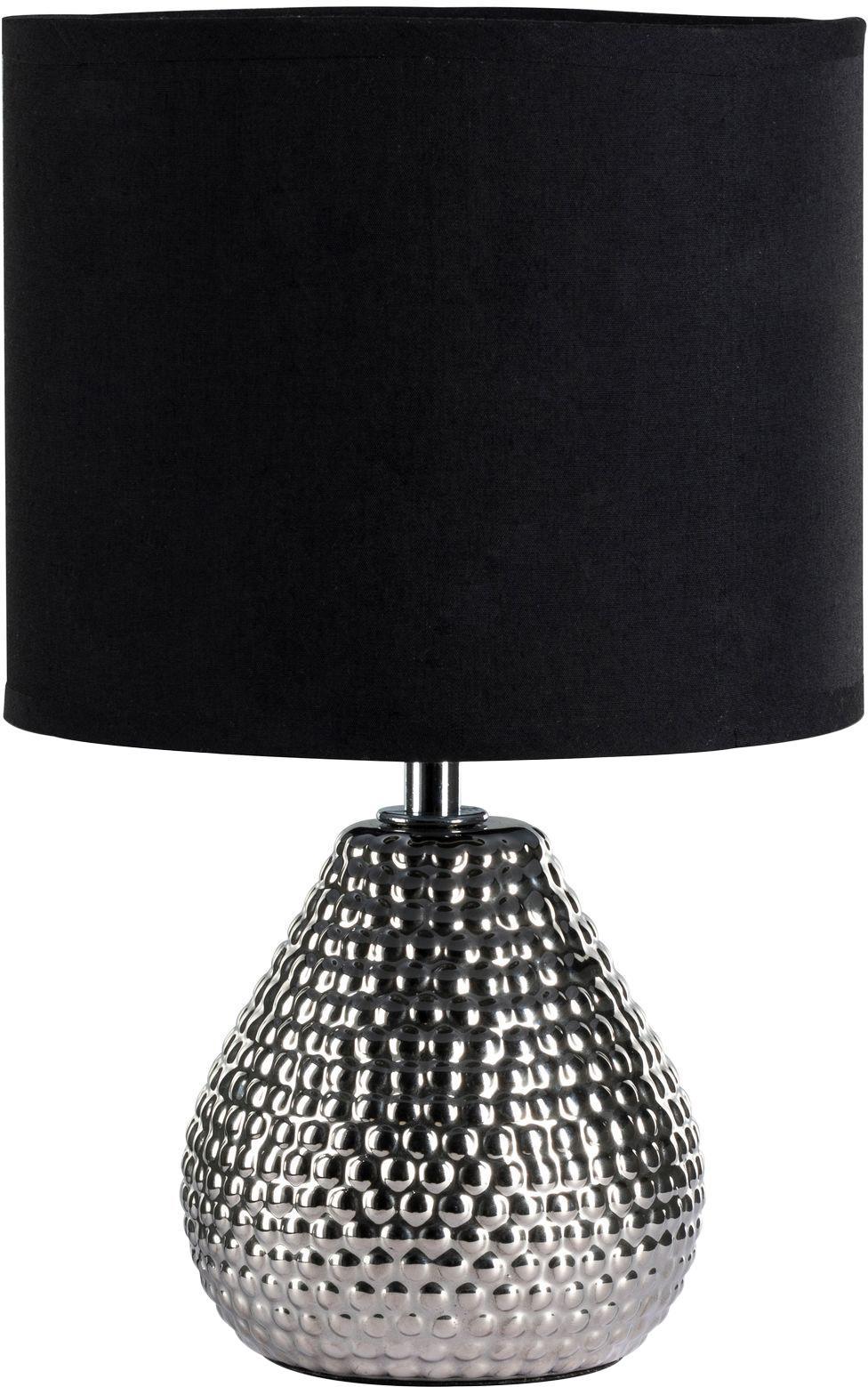 Keramische tafellamp Reno in zilverkleur, Lampenkap: katoenmix, Lampvoet: keramiek, Zilverkleurig, zwart, Ø 18 x H 29 cm