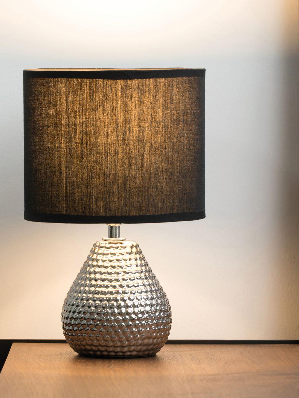 Lampada da tavolo in ceramica argentata Reno, Paralume: poliestere cotone, Base della lampada: ceramica, Argento, nero, Ø 18 x Alt. 29 cm