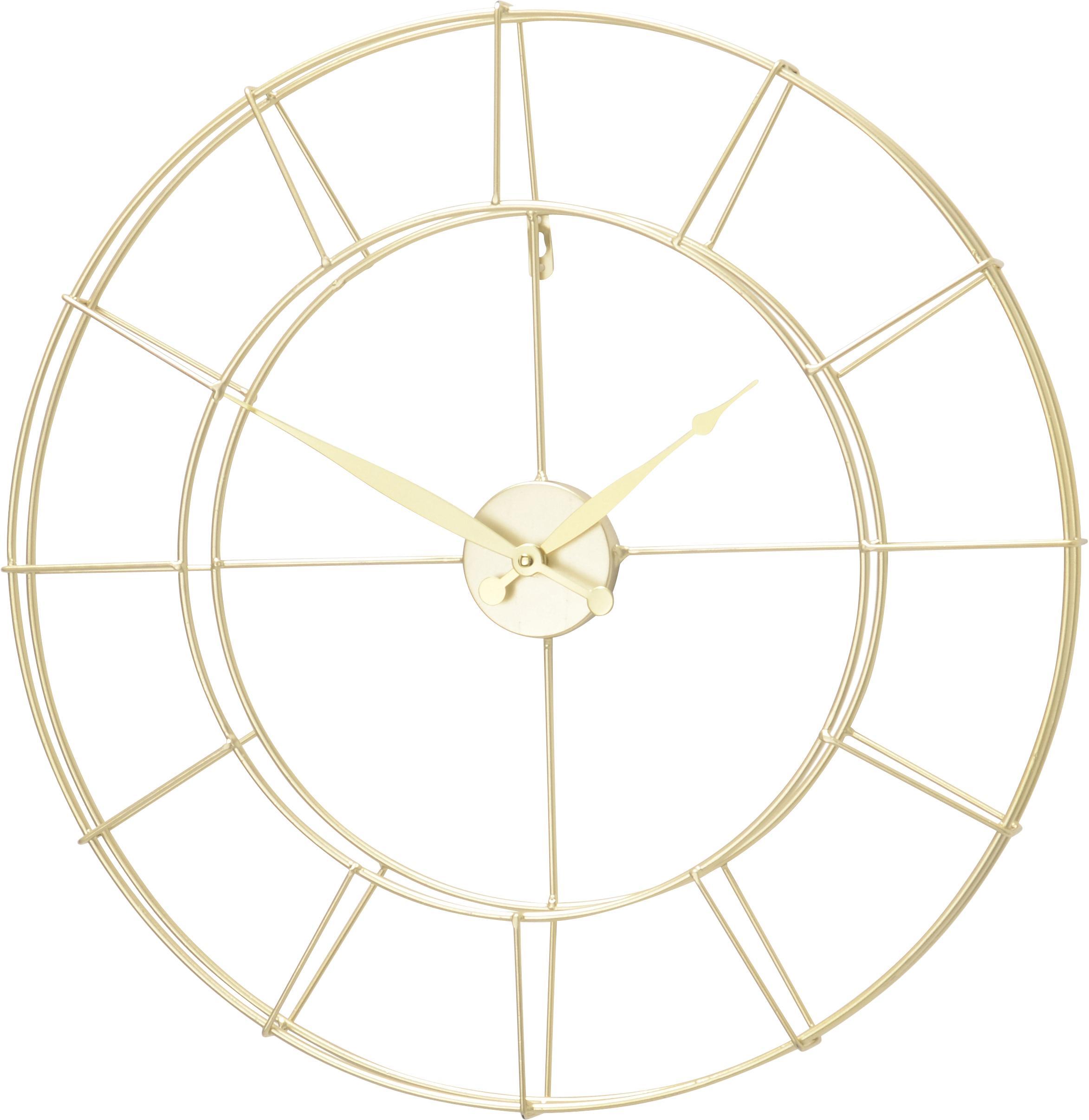Reloj de pared Alisha, Metal recubierto, Dorado, Ø 57 cm