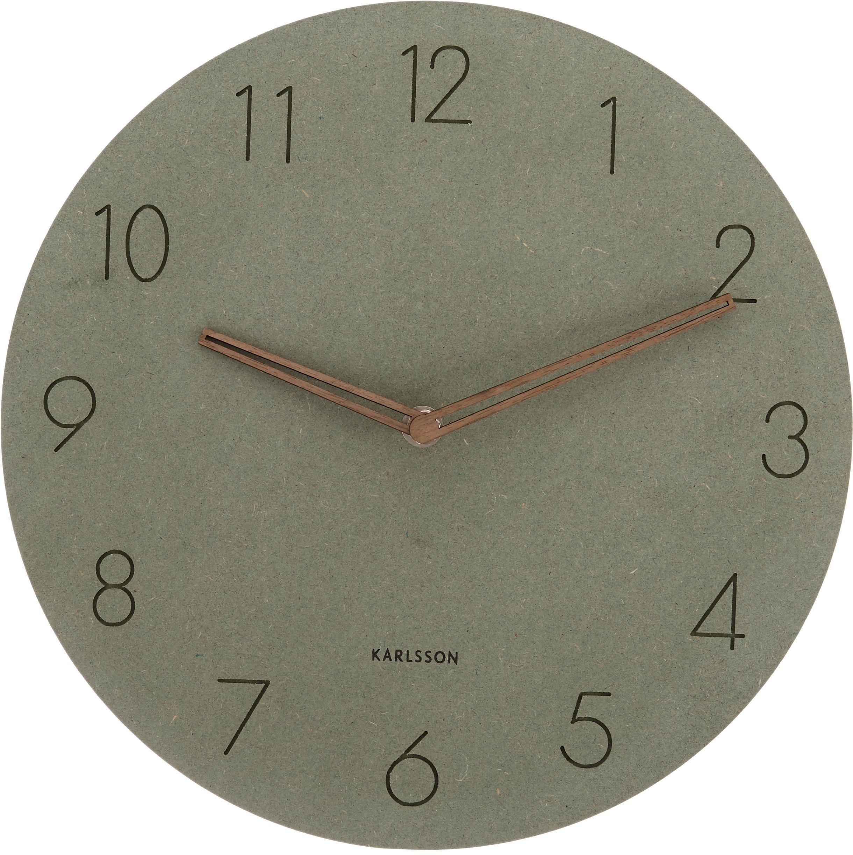 Zegar ścienny z drewna Dura, Drewno naturalne, Zielony, mosiężny, Ø 29 x G 3 cm