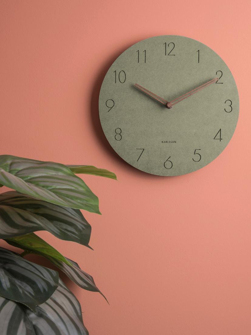 Orologio da parete in legno  Dura, Pannello di fibra a media densità (MDF), Verde, ottone, Ø 29 x Prof. 3 cm