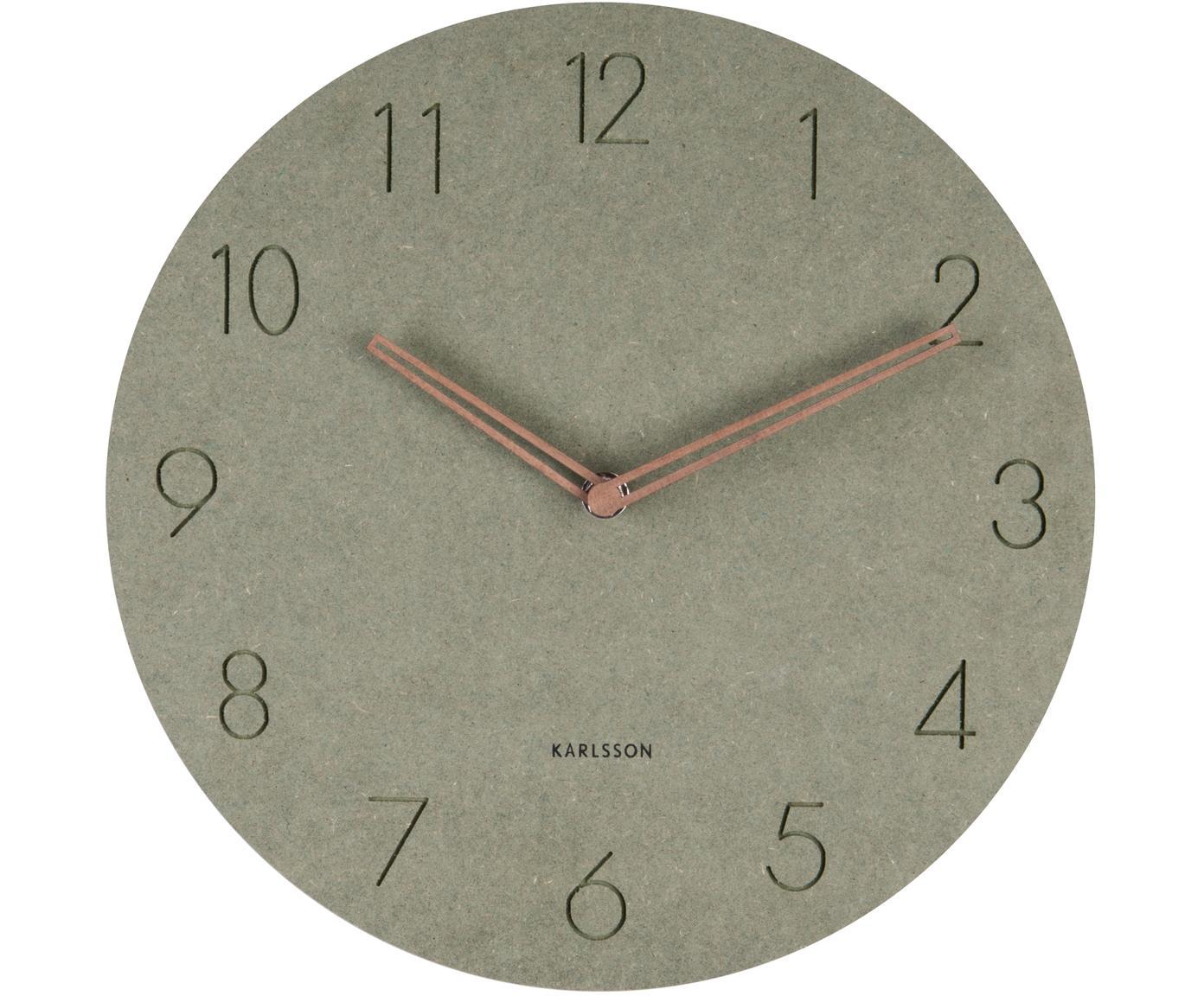 Houten wandklok Dura, Hout, Groen, messingkleurig, Ø 29 x D 3 cm