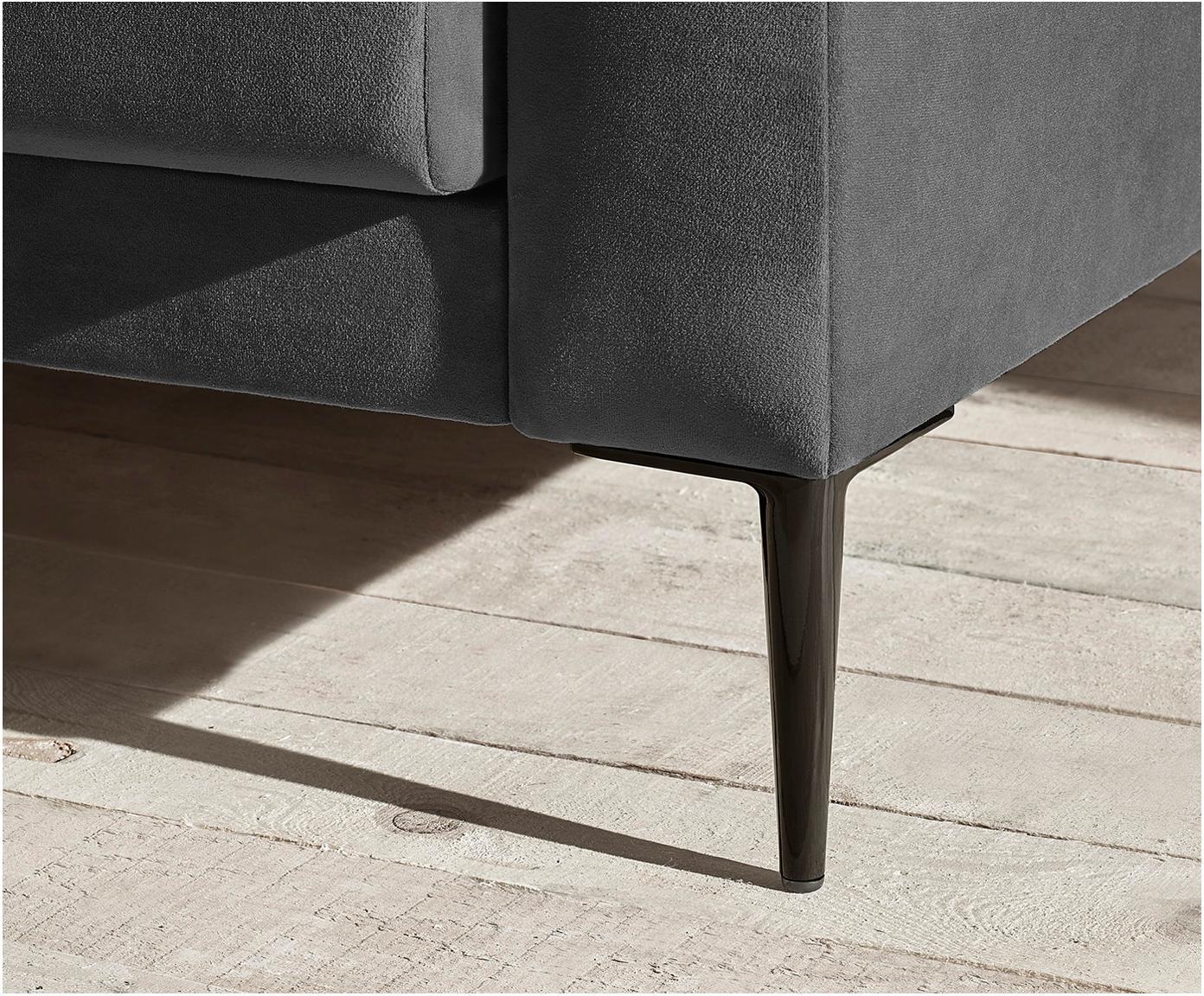 Sofa rozkładana z aksamitu Bergen (3-osobowa), Tapicerka: 100% aksamit poliestrowy, Nogi: metal lakierowany, Ciemny szary, S 222 x G 92 cm