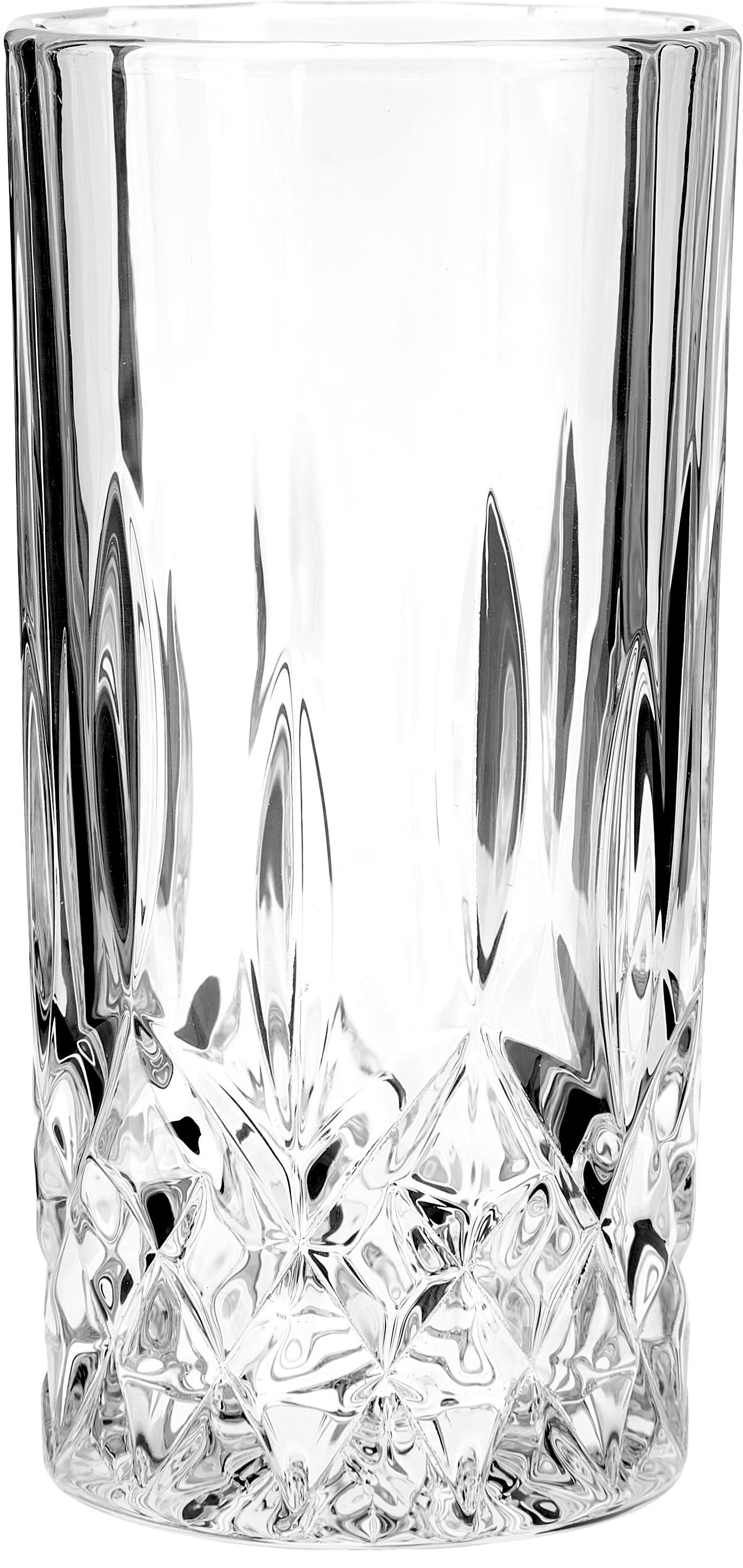 Longdrinkgläser George mit Kristallrelief, 4 Stück, Glas, Transparent, Ø 8 x H 15 cm
