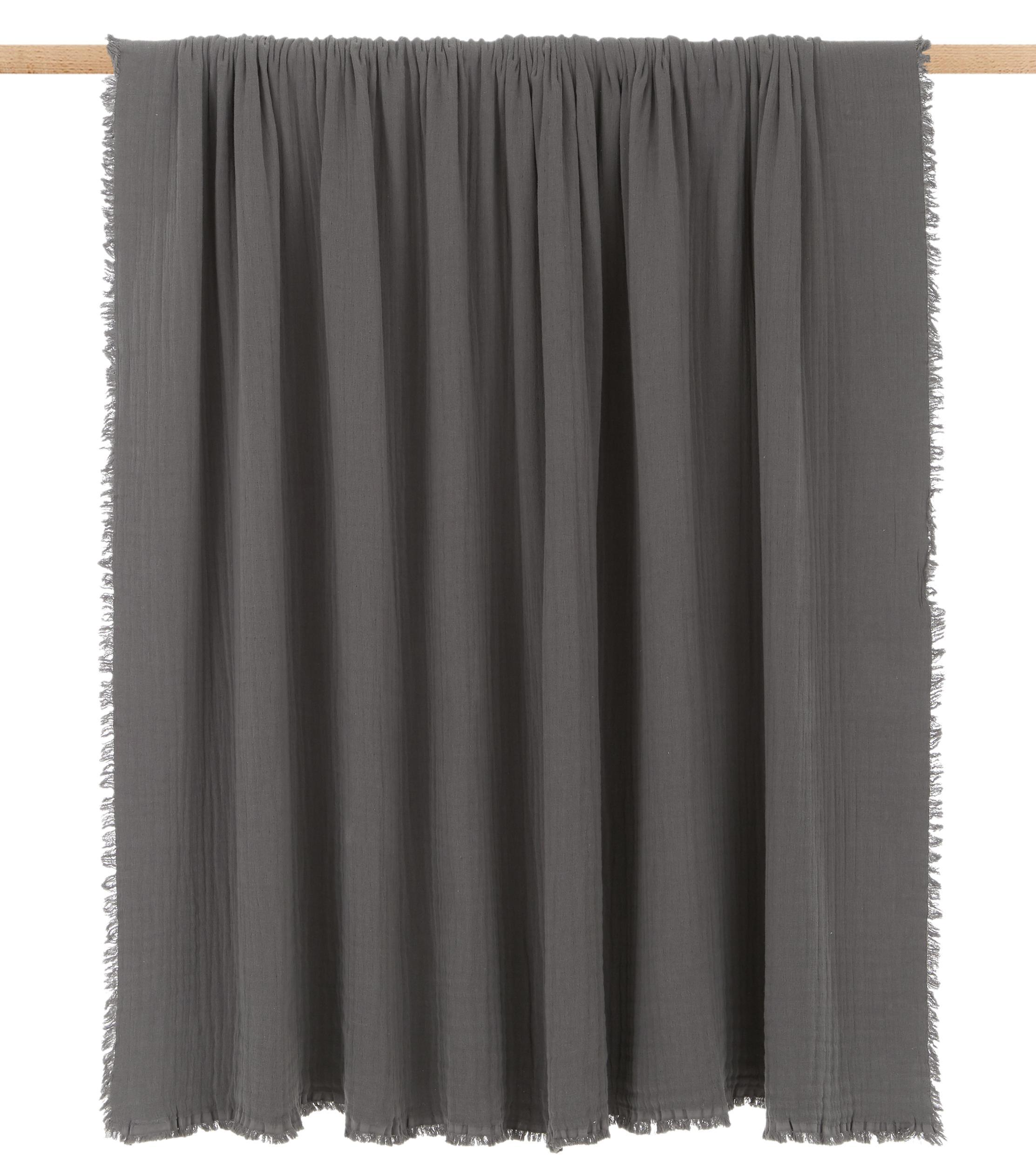 Tagesdecke Vanly aus weichem Baumwollmusselin, 100% Baumwollmusselin, Dunkelgrau, 240 x 260 cm