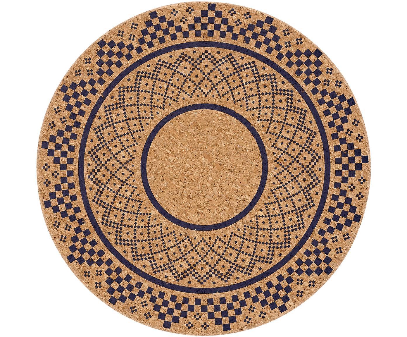 Gemusterte Kork-Topfuntersetzer Arise, 2 Stück, Kork, Kork, Dunkelblau, Ø 20 x H 2 cm