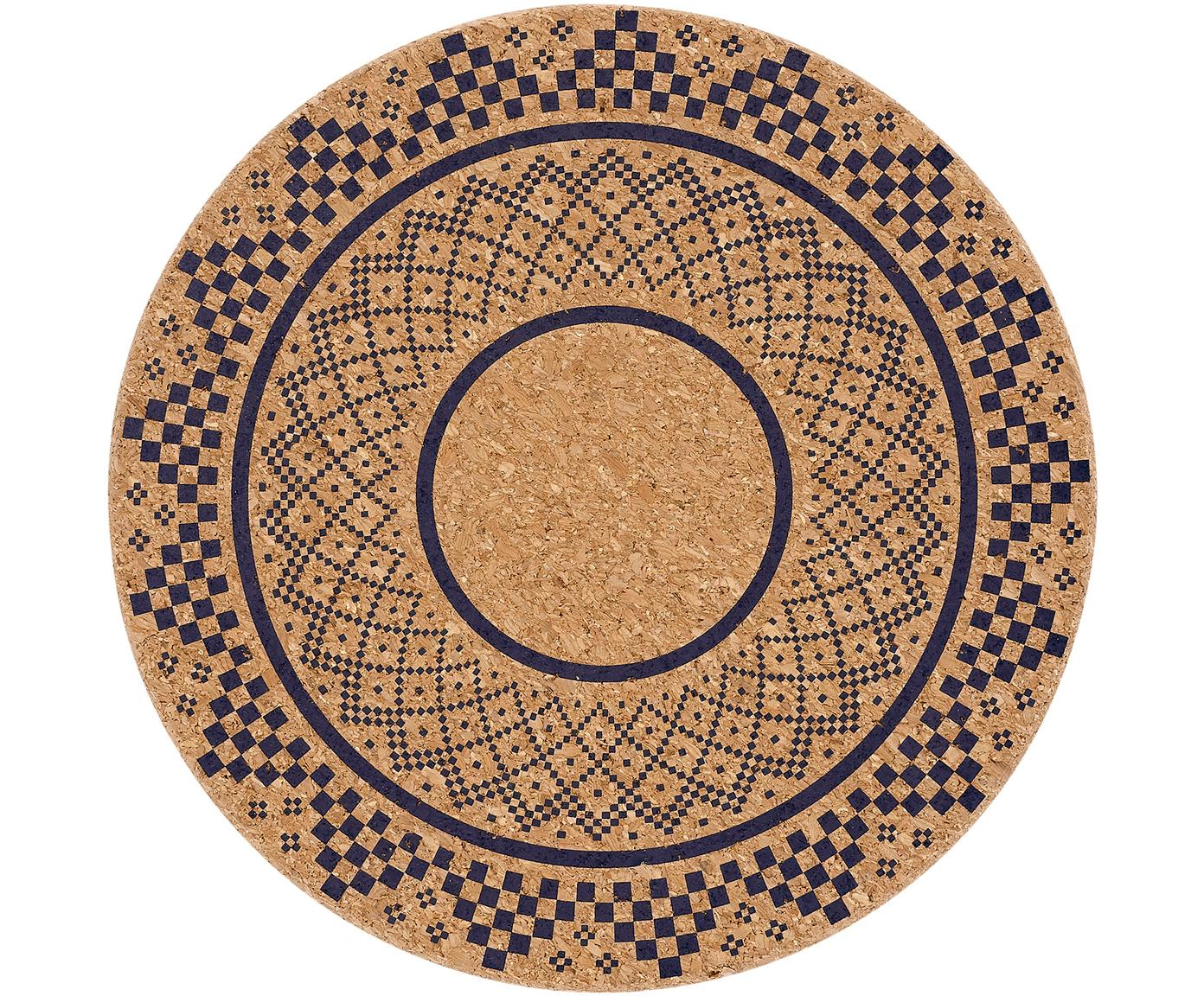 Kurken panonderzetters Arise, 2 stuks, Kurk, Kurkkleurig, donkerblauw, Ø 20 cm