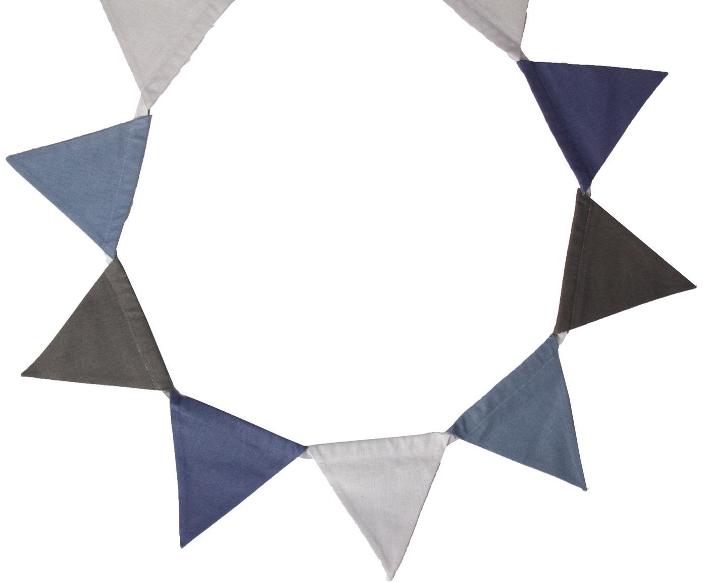 Girlande Vimply, Baumwolle, Blau, Grau, Anthrazit, L 250 cm