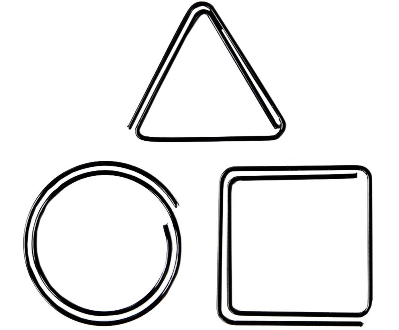 Büroklammern-Set Geometria, 9-tlg., Metall, lackiert, Schwarz, 3 x 3 cm
