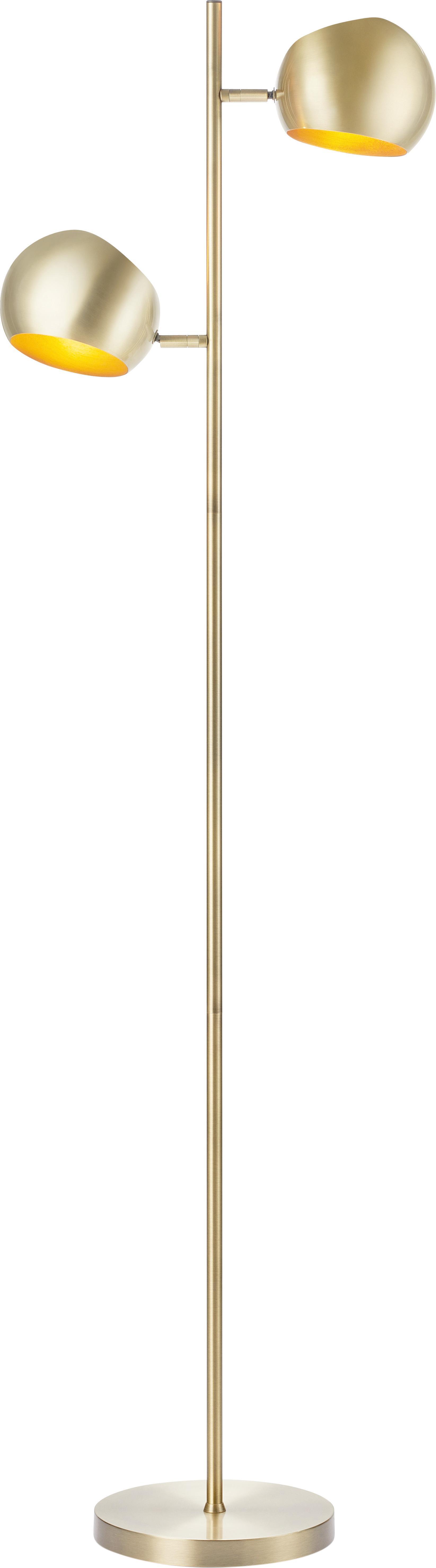 Vloerlamp Edgar, Gelakt metaal, Messingkleurig met antieke afwerking, 42 x 146 cm