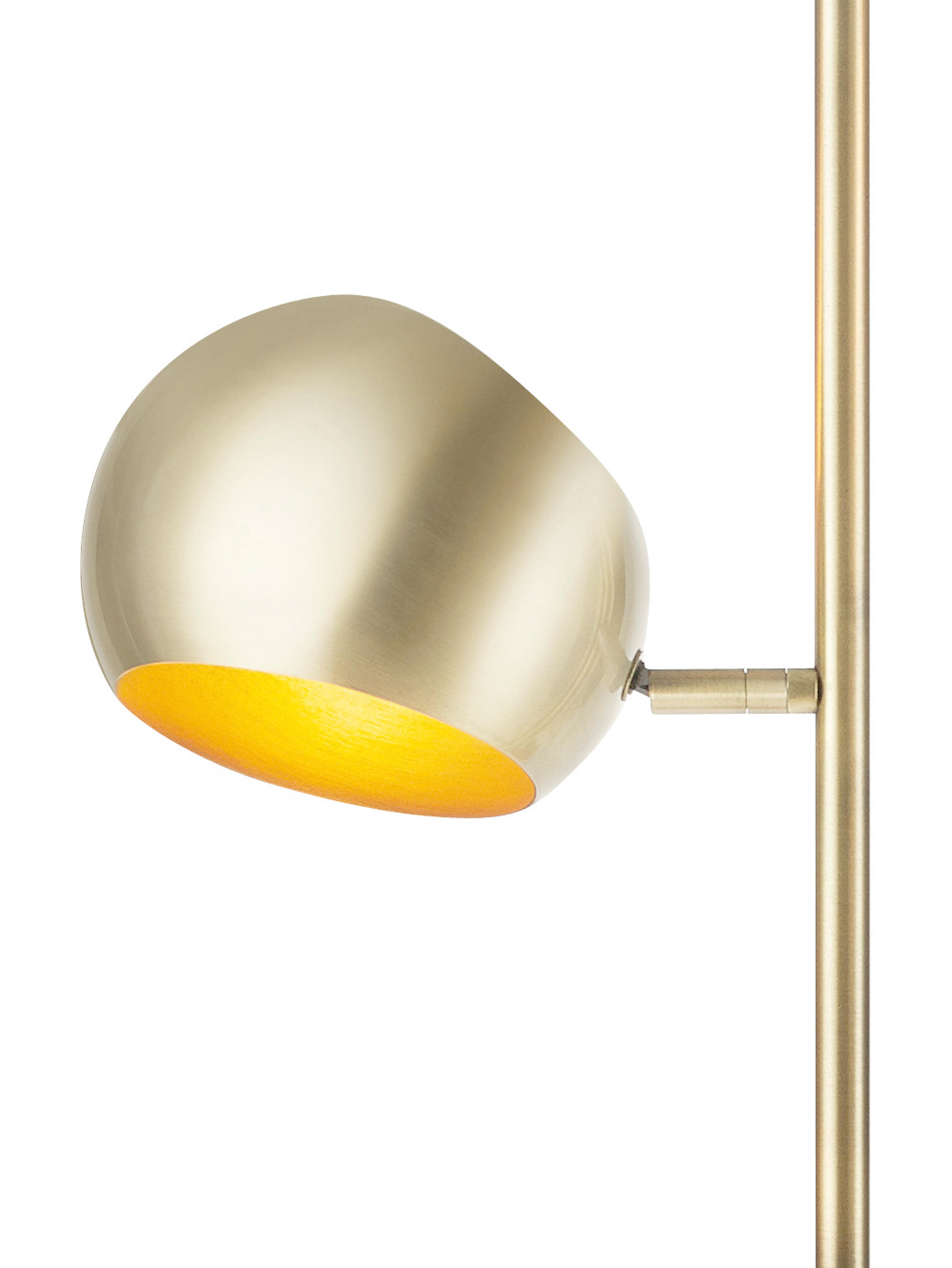 Stehlampe Edgar in Gold, Lampenschirm: Metall, lackiert, Lampenfuß: Metall, lackiert, Messingfarben mit Antik-Finish, 40 x 145 cm