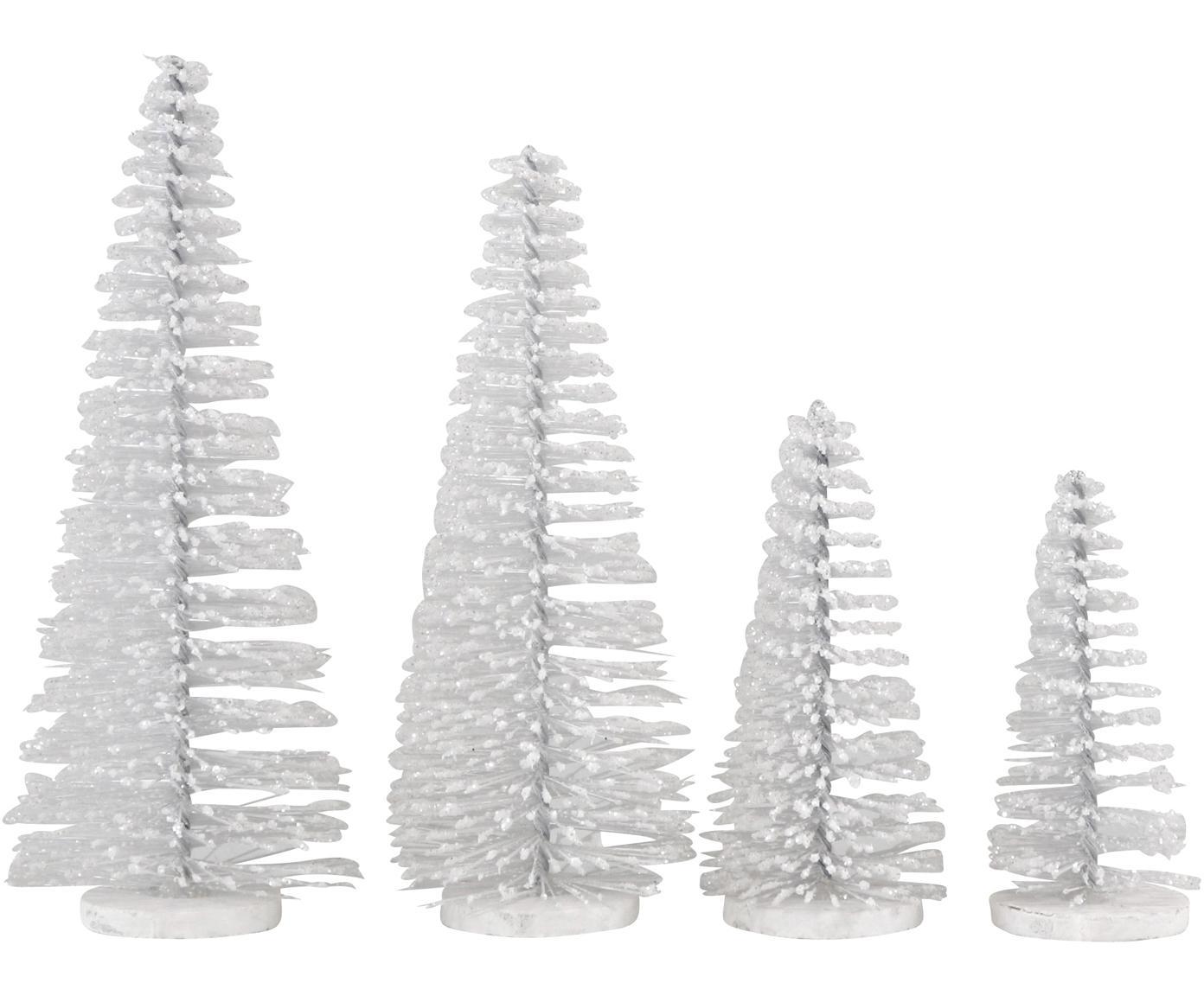 Set de piezas decorativa Glam, 4pzas., Plástico, metal, Blanco, Set de diferentes tamaños