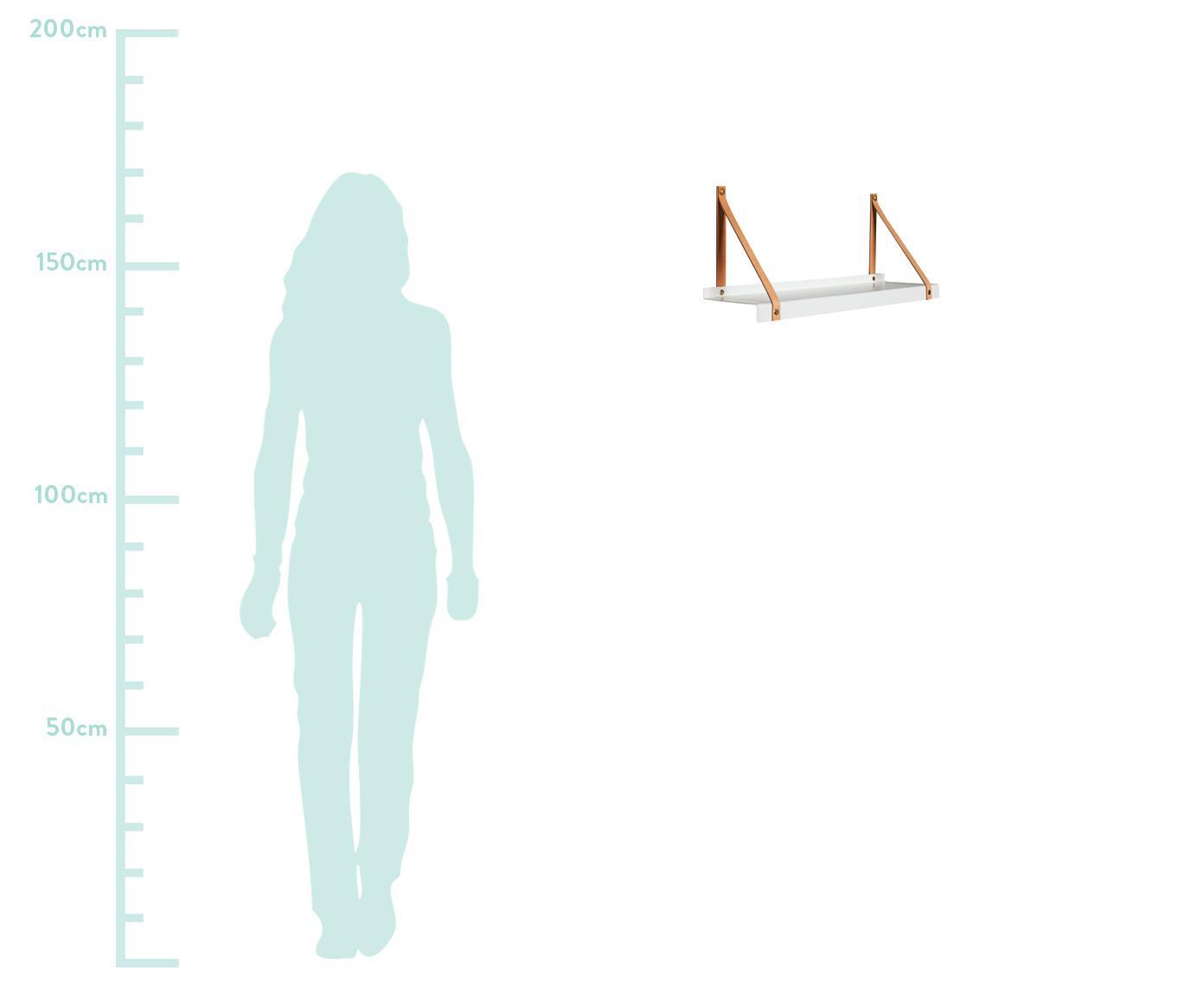 Wandplank Shelfie, Plank: gepoedercoat metaal, Riemen: leer, Wit, bruin, 50 x 23 cm