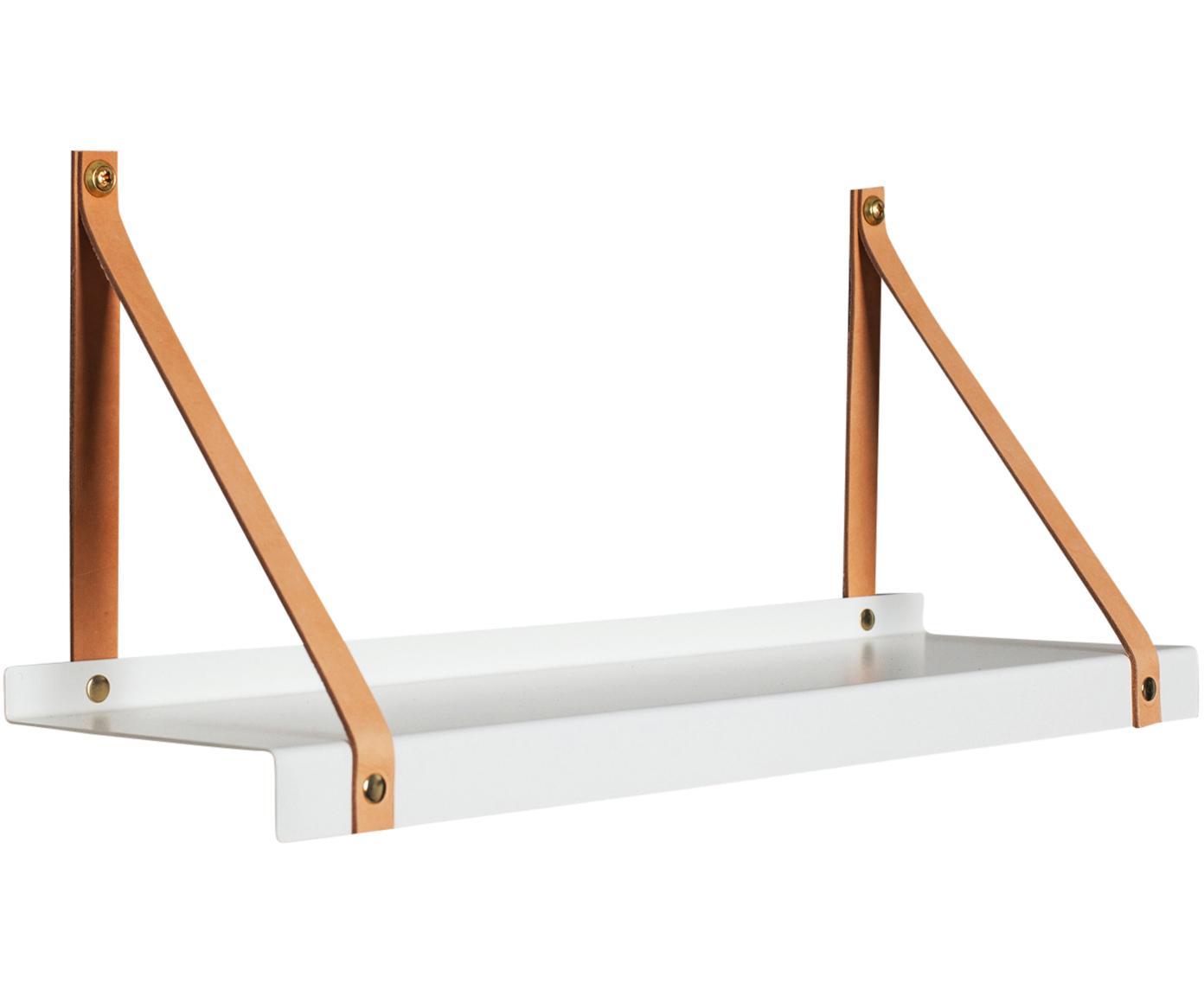 Wandplank Shelfie, Plank: gepoedercoat metaal, Riemen: leer, Wit, bruin, B 50 x D 15 cm