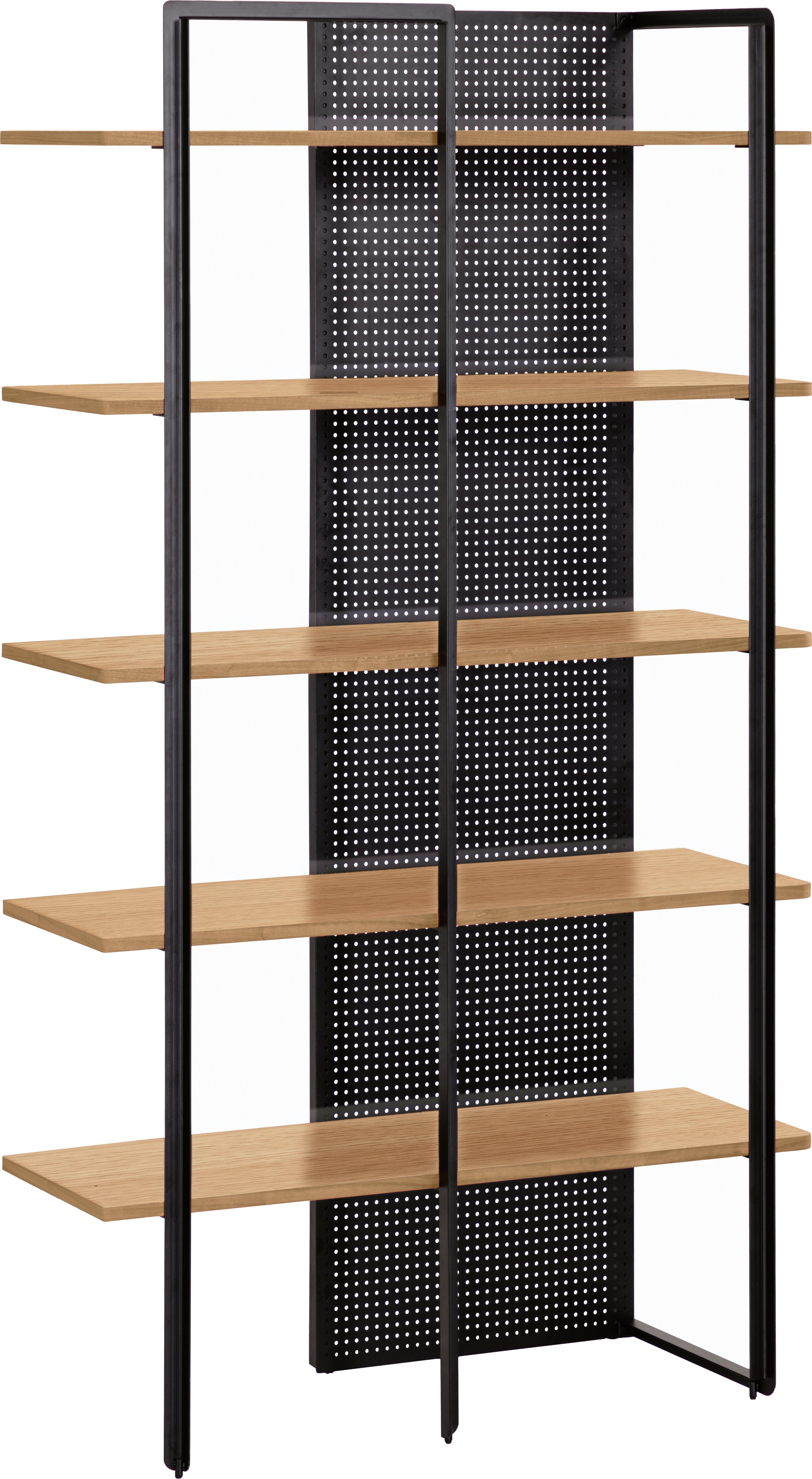 Scaffale industriale in legno e metallo Nadyria, Struttura: metallo verniciato, Ripiani: pannello di fibra a media, Nero, marrone scuro, Larg. 100 x Alt. 180 cm