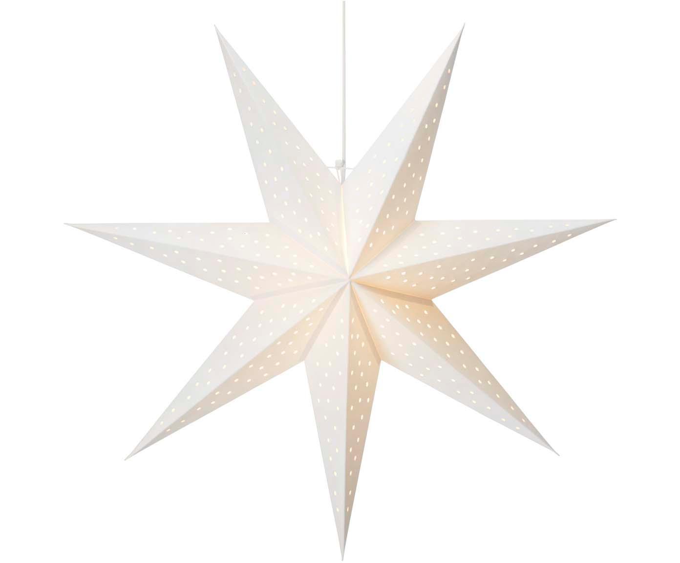Estrella de Navidad Clara, Cable: plástico, Blanco, Ø 75 cm