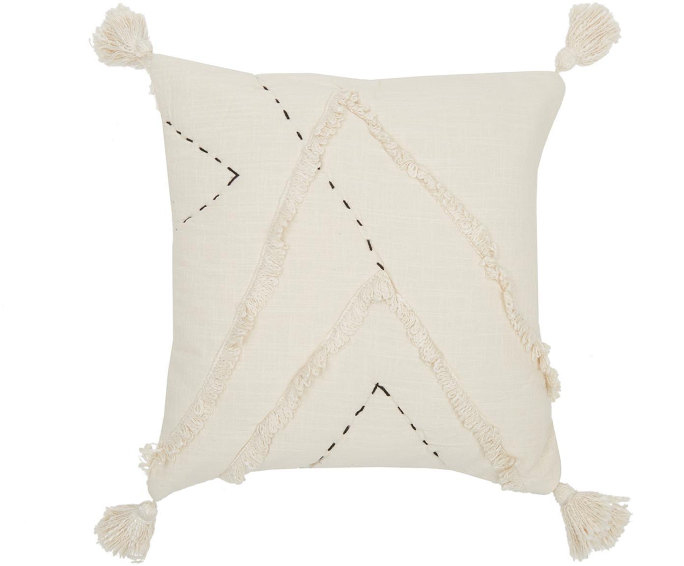 Kussenhoes Lienzo met hoog-laag patroon, 100% katoen, Gebroken wit, 45 x 45 cm
