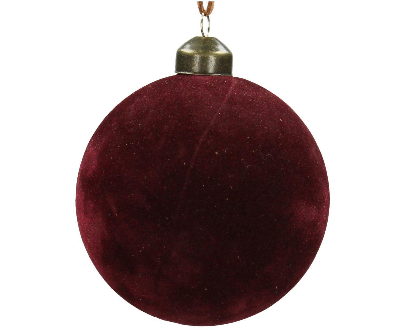 Weihnachtskugeln Velvet Ø8cm, 4Stück, Glas, Polyestersamt, Dunkelrot, Ø 8 cm