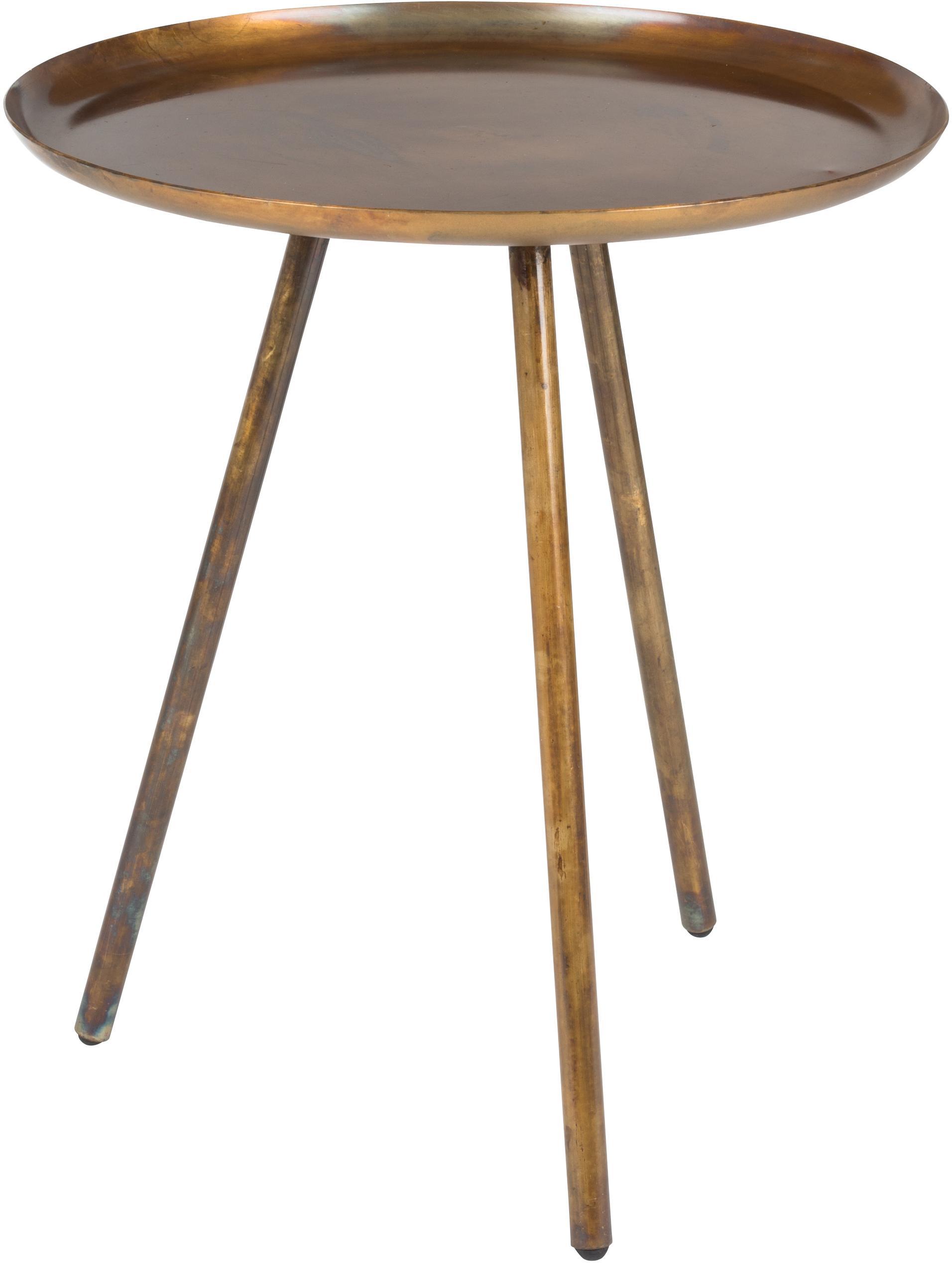 Mesa auxiliar redonda Frost, Dorado, cobre, efecto envejecido, Ø 39 x Al 45 cm