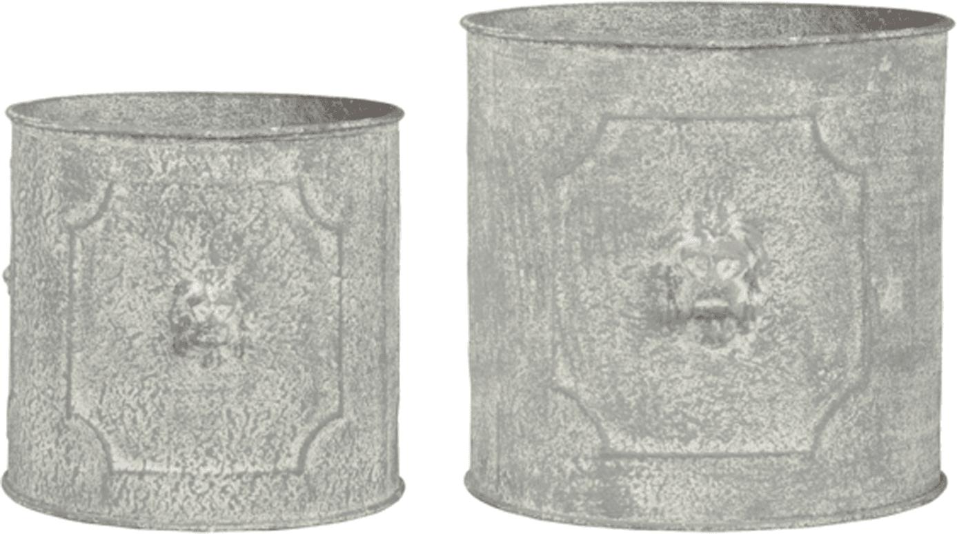 Set de macetas de metal Lowa, 2pzas., Metal, Gris, Set de diferentes tamaños