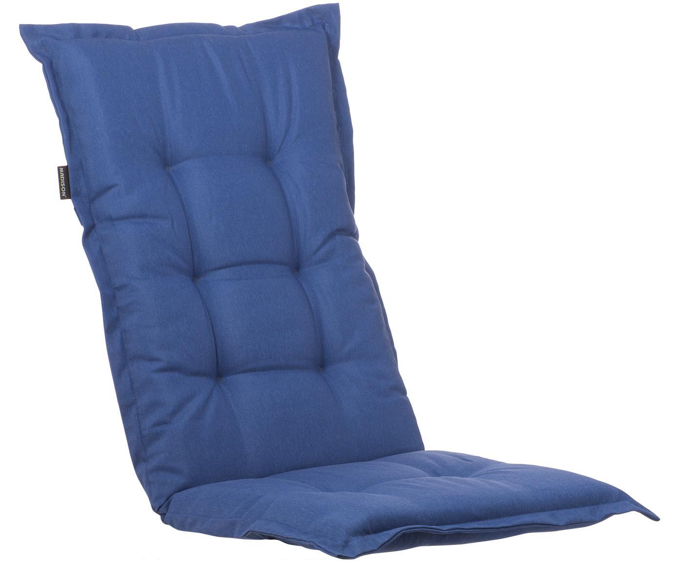 Cuscino sedia con schienale alto Panama, Rivestimento: 50% cotone, 50% poliester, Blu marino, Larg. 50 x Lung. 123 cm