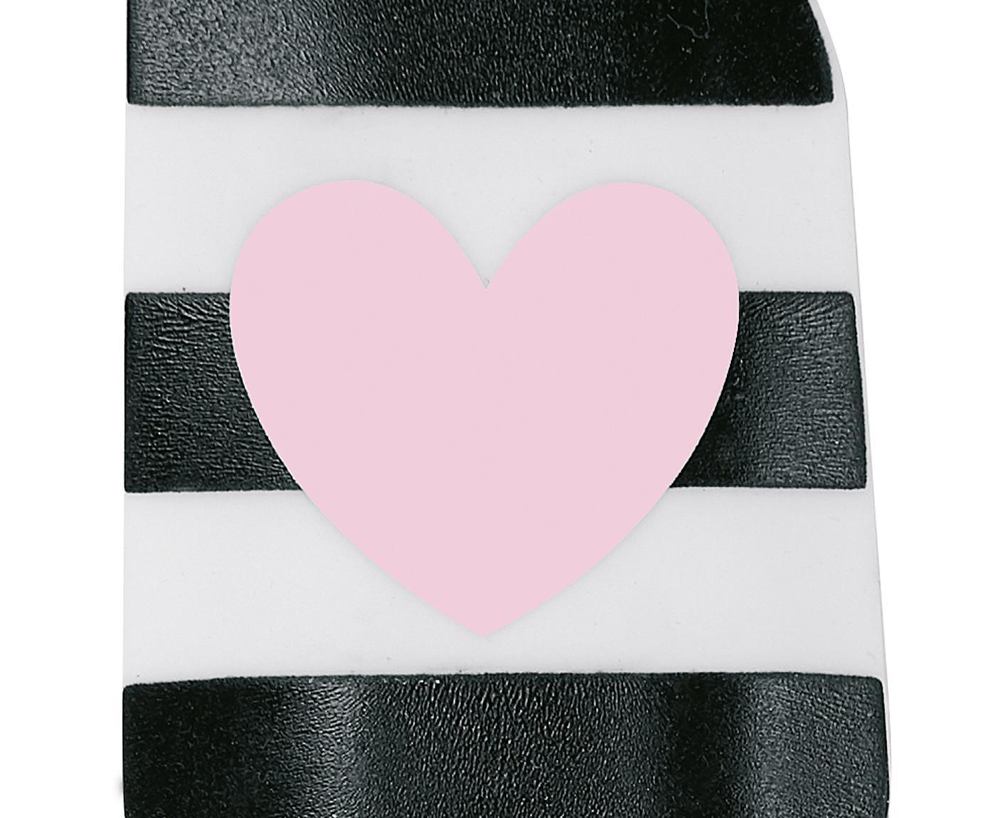 Deegspatel Heart, Silicone, bamboehout, Bamboehoutkleurig, roze, wit, zwart, L 25 cm