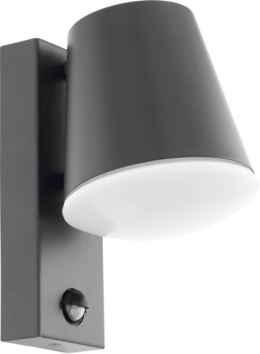 Outdoor wandlamp Caldiero met Bewegungsmelder, Lampenkap: Verzinkt staal, Diffuser: kunststof, Antraciet, 14 x 24 cm