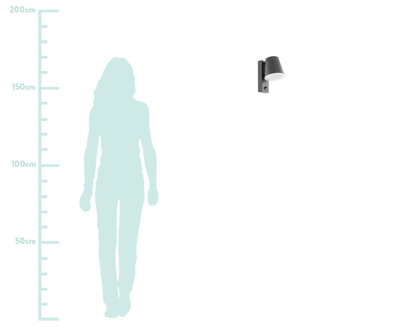 Kinkiet zewnętrzny z czujnikiem ruchu Caldiero, Antracytowy, S 14 x W 24 cm