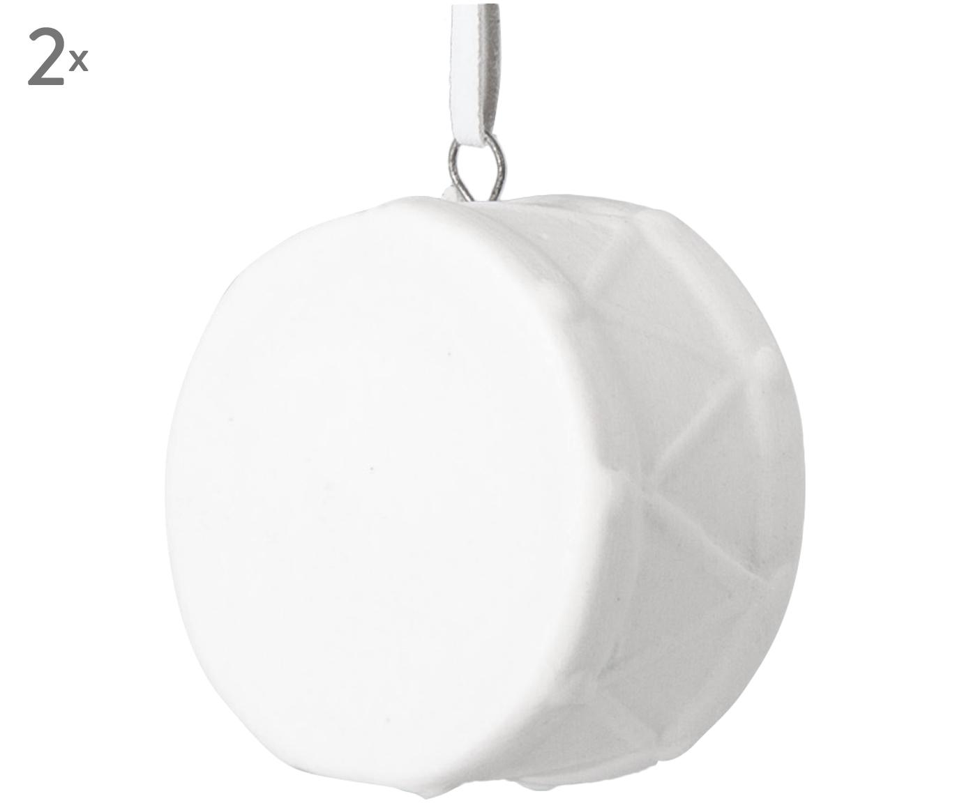Adorno navideño Drum, 2uds., Cerámica, Blanco, An 3 x Al 5 cm