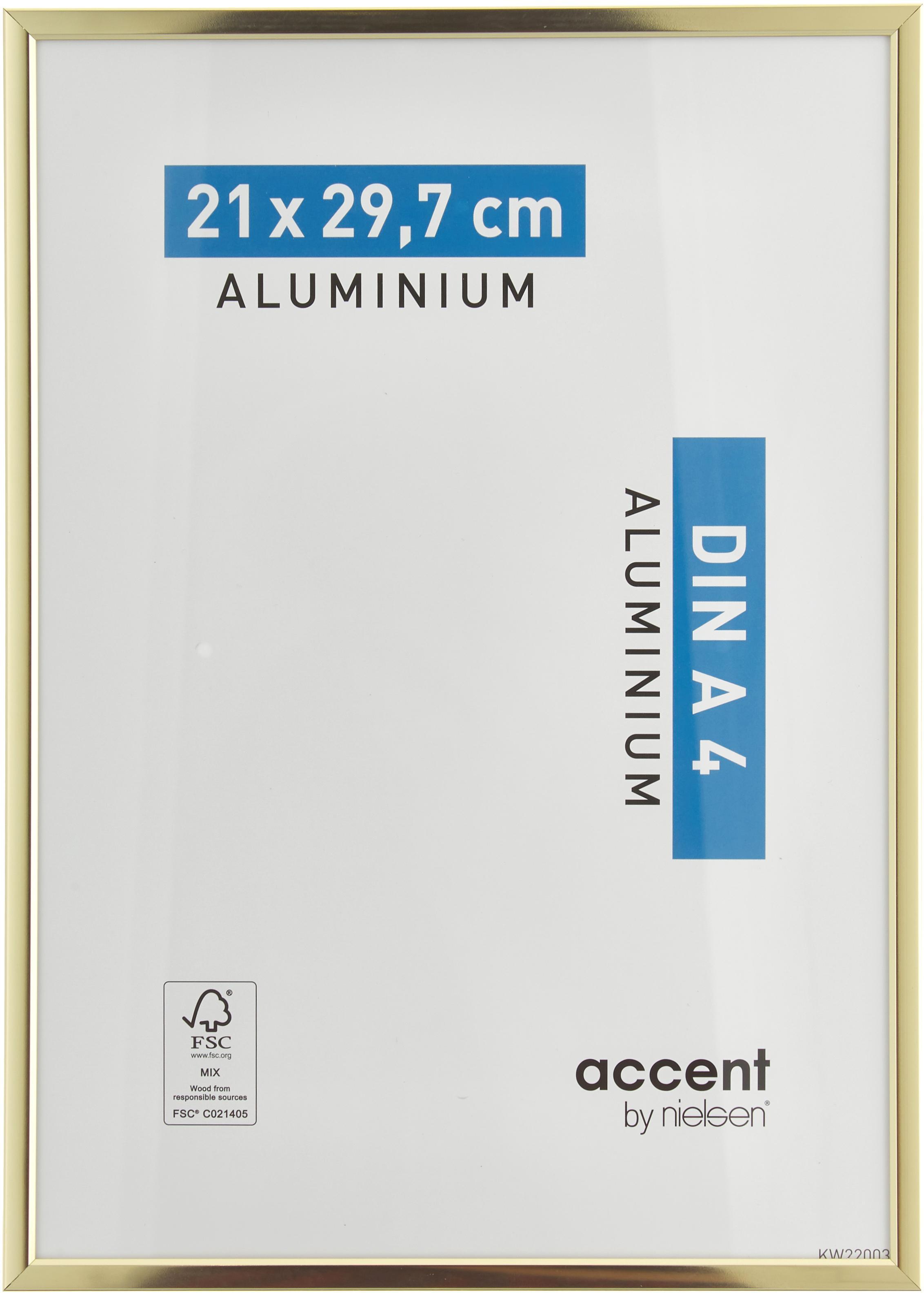 Cornice dorata lucida Accent, Cornice: alluminio, rivestito, Retro: Pannello di fibra a media, Ottonato, 21 x 30 cm