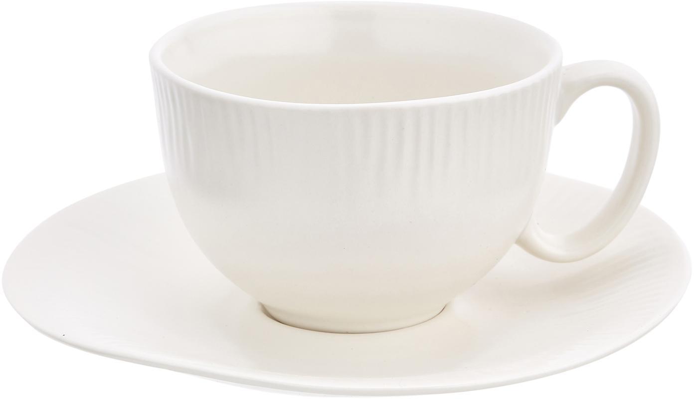 Handgemachte Teetasse mit Untertasse Sandvig mit leichtem Rillenrelief, Porzellan, durchgefärbt, Gebrochenes Weiss, Ø 8 x H 6 cm