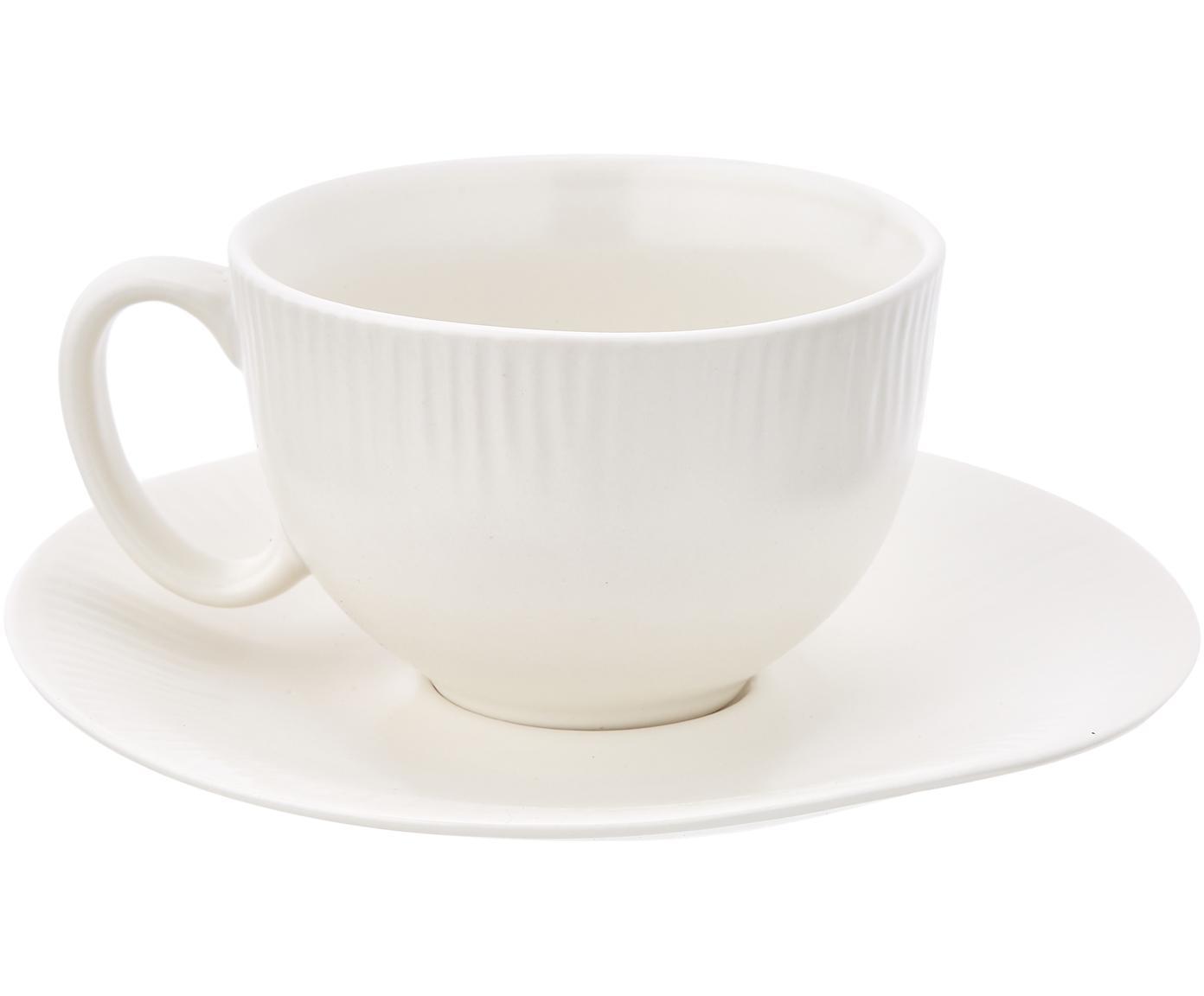 Tazza da tè con piattino fatti a mano Sandvig, Porcellana, tinta, Bianco latteo, Ø 8 x Alt. 6 cm