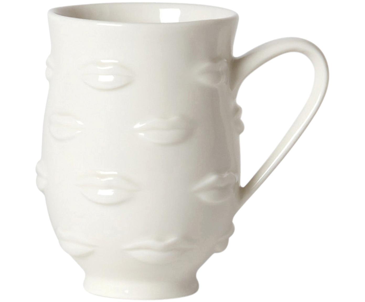 Taza de diseño Gala, Gres, Blanco, Ø 9 x Al 13 cm