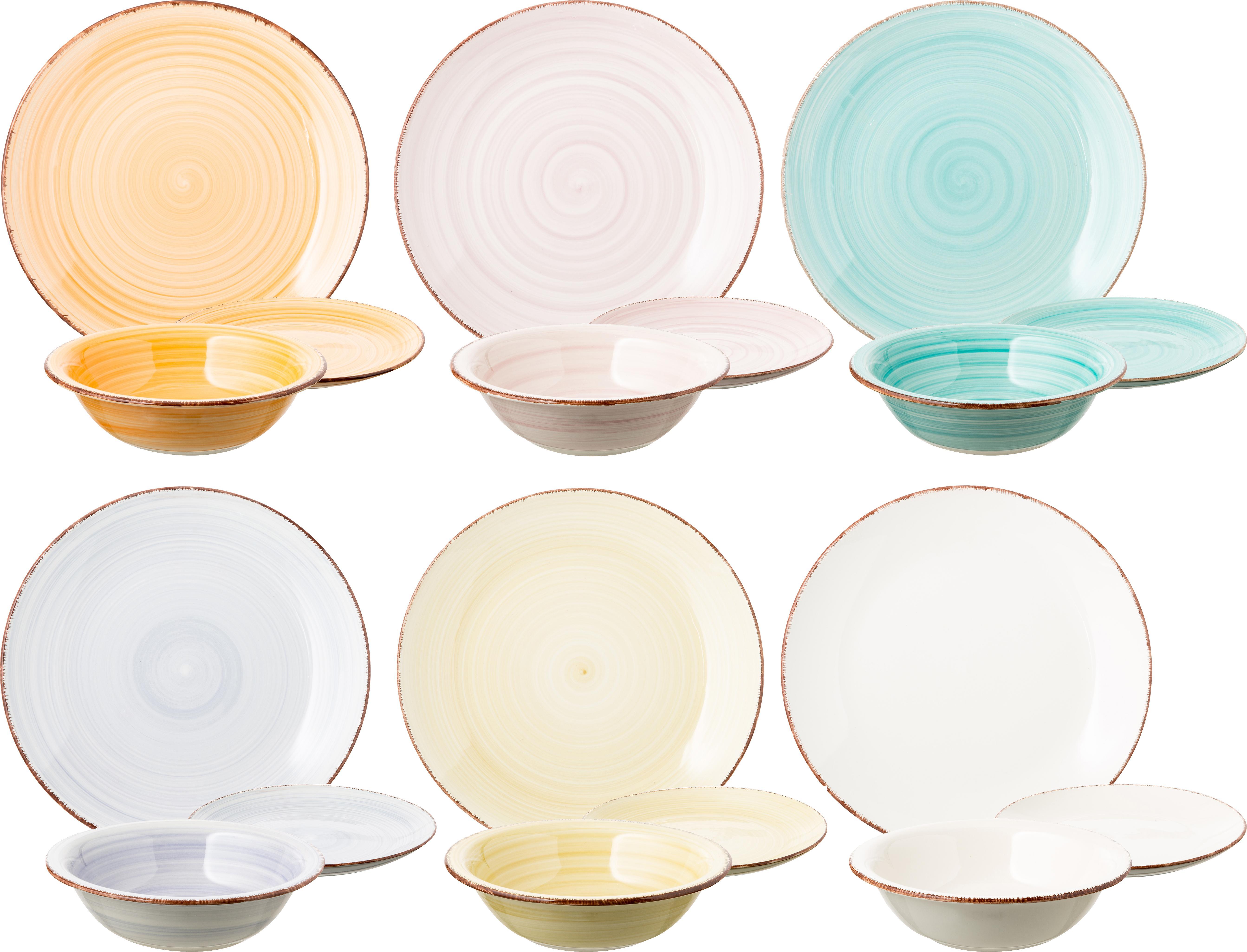 Set 18 piatti dipinti a mano in tonalità pastello Baita, Terracotta (dolomite duro), dipinto a mano, Giallo, tonalità rosa, azzurro, bianco, Diverse dimensioni
