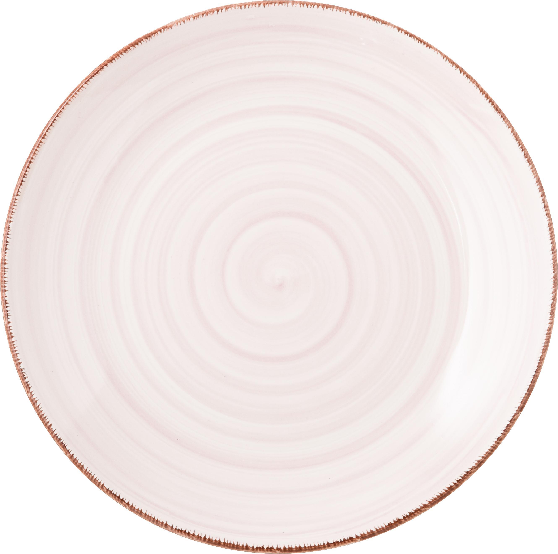 Set 18 piatti dipinti a mano in tonalità pastello per 6 persone Baita, Terracotta (dolomite duro), dipinto a mano, Giallo, tonalità rosa, azzurro, bianco, Set in varie misure
