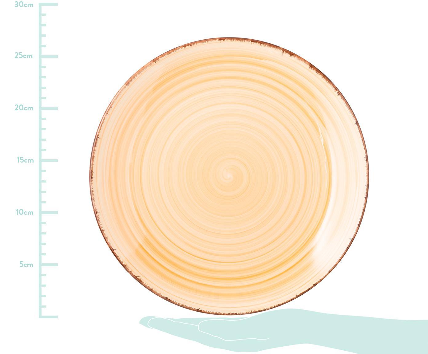 Vajilla artesanales Baita, 6comensales (18pzas.), Gres (dolomita) pintadoamano, Tonos de amarillo y rosa, azul claro, blanco, Set de diferentes tamaños