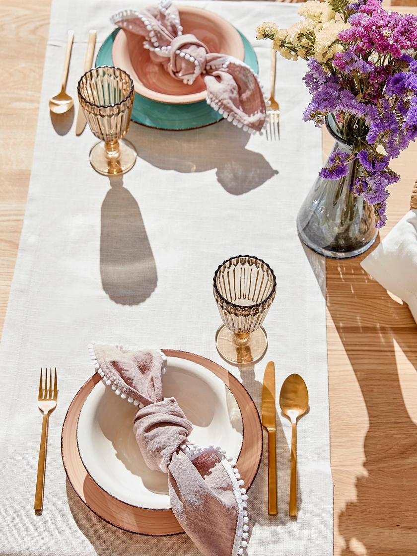 Bordenset Baita, 6 personen (18-delig), Handbeschilderde keramiek (hard dolomiet), Geel-, rozetinten, lichtblauw, wit, Set met verschillende formaten