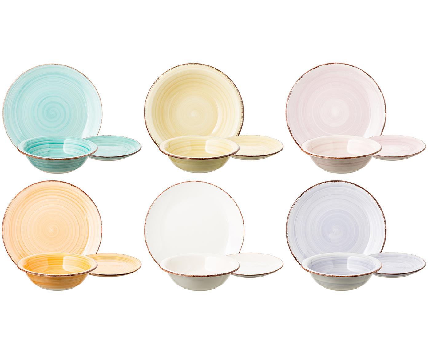 Vajilla Baita, 6comensales (18pzas.), Gres, pintadaamano, Tonos de amarillo y rosa, azul claro, blanco, Tamaños diferentes