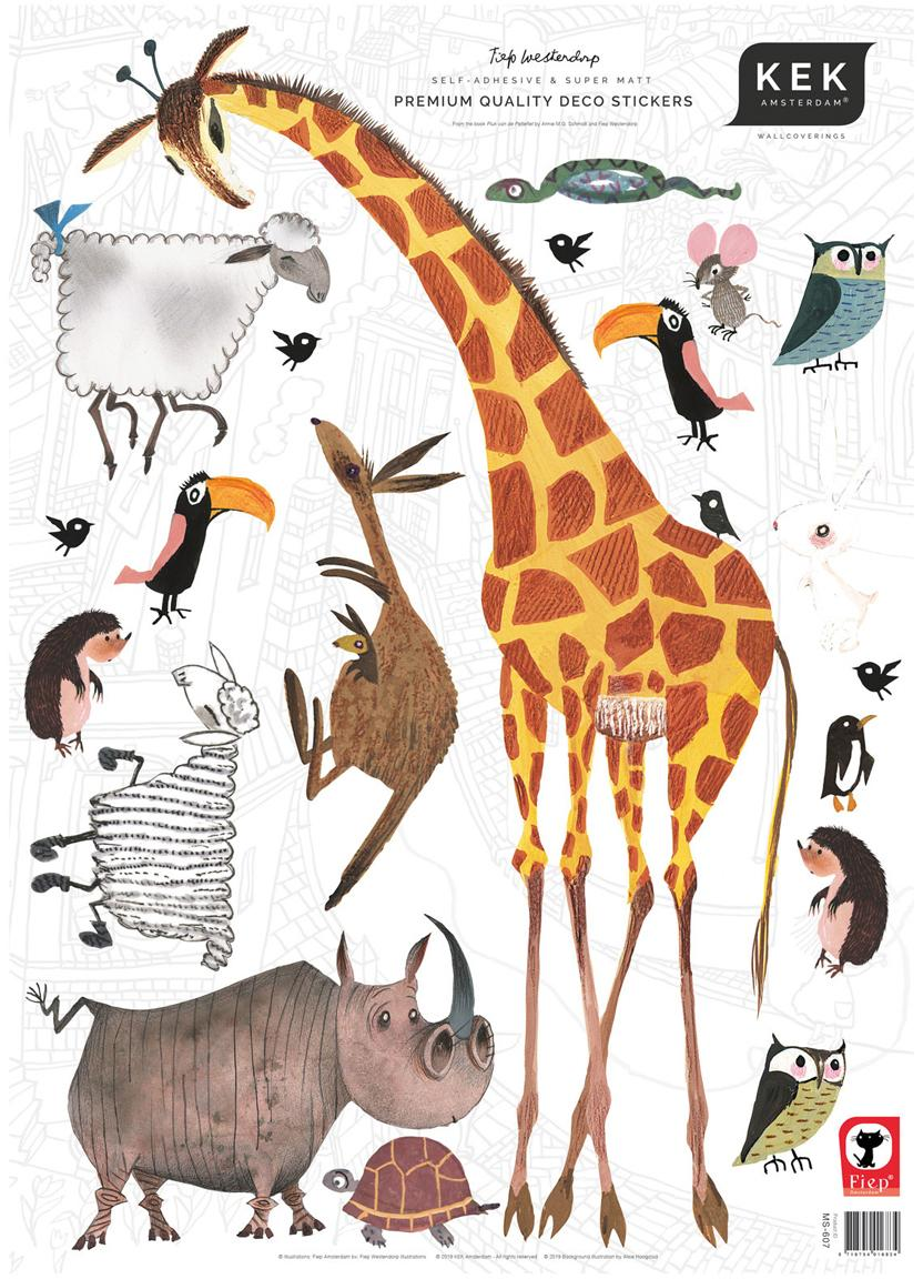 Set de pegatinas de pared Animals, 20 pzas., Lámina de vinilo autoadhesiva mate, Multicolor, An 42 x Al 59 cm