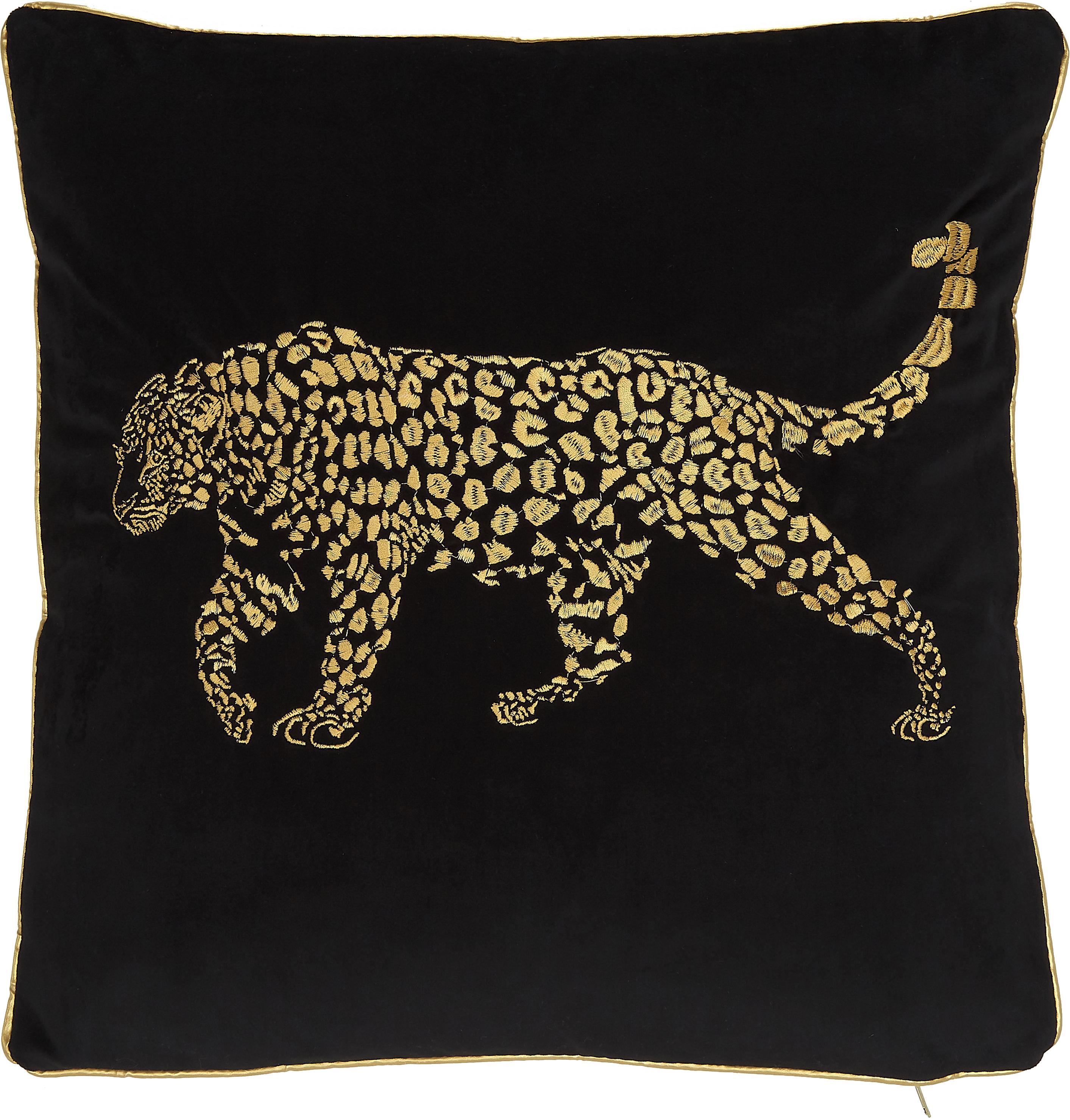 Geborduurd fluwelen kussen Majestic Leopard, met vulling, Fluweel, Zwart, goudkleurig, 45 x 45 cm