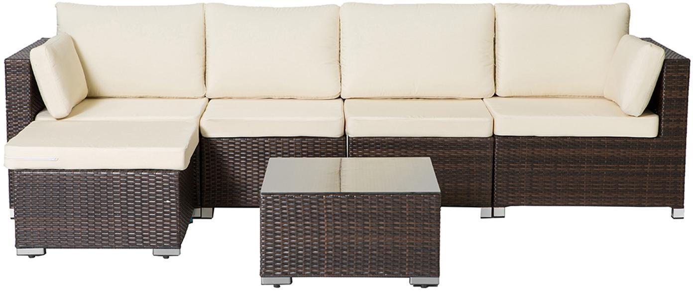 Set lounge de exterior Sunset, 6pzas., Estructura: ratán sintético, Marrón, crudo, Set de diferentes tamaños
