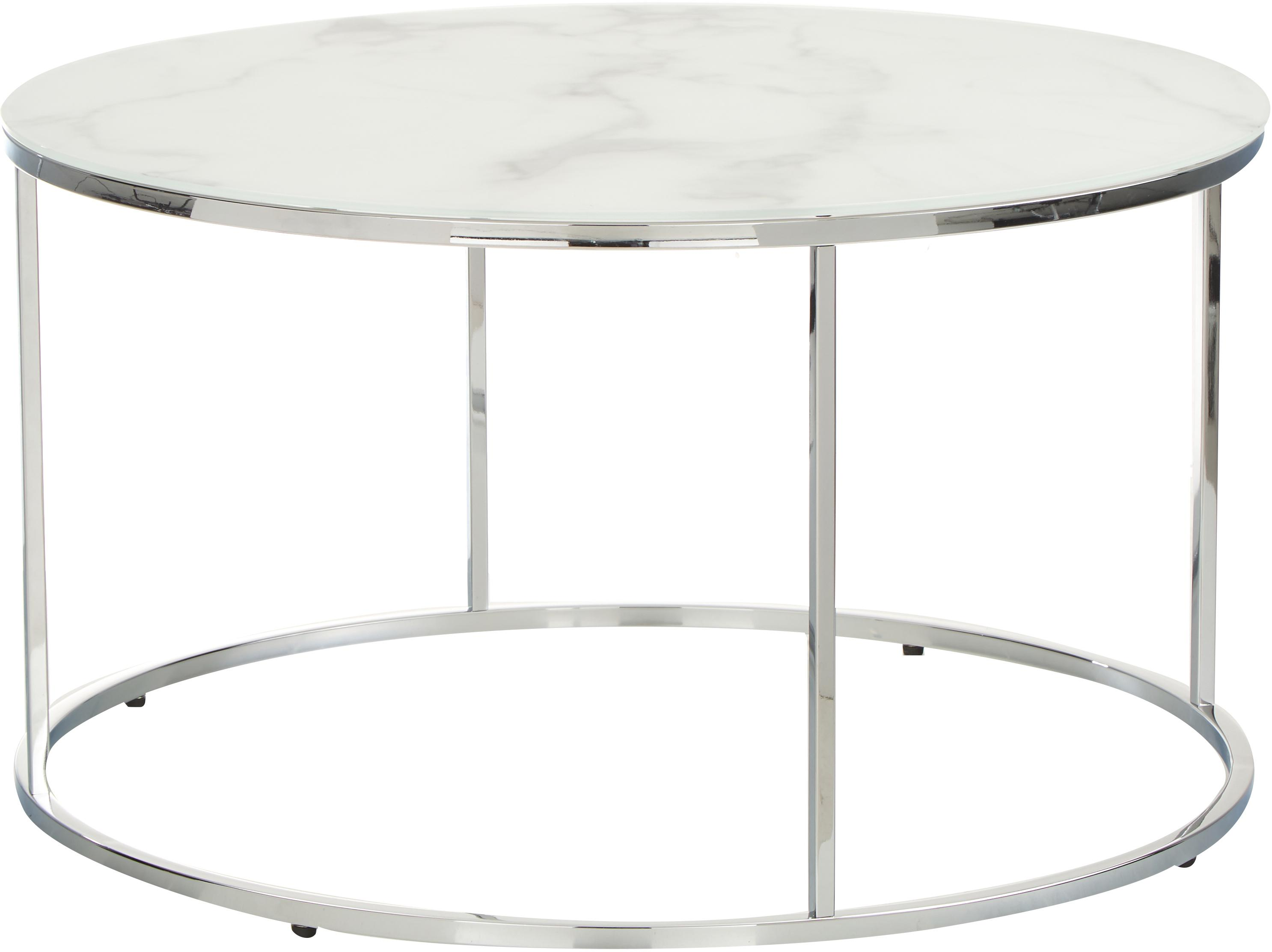 Couchtisch Antigua mit marmorierter Glasplatte, Tischplatte: Glas, matt bedruckt, Gestell: Stahl, verchromt, Weiss-grau marmoriert, Silberfarben, Ø 80 x H 45 cm