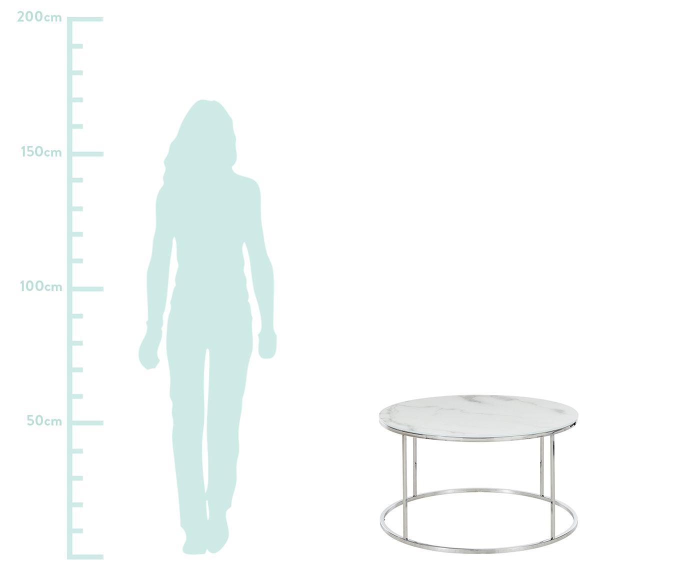 Mesa de centro Antigua, tablero de cristal en aspecto mármol, Tablero: vidrio estampado con aspe, Estructura: acero cromado, Blanco grisaceo veteado, plateado, Ø 80 x Al 45 cm