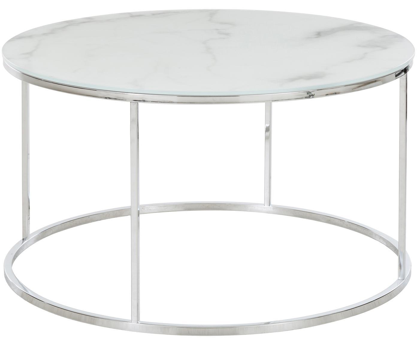 Stolik kawowy ze szklanym blatem Antigua, Blat: szkło, matowy nadruk, Stelaż: stal, chromowany, Białoszary marmurowy, odcienie srebrnego, Ø 80 x W 45 cm