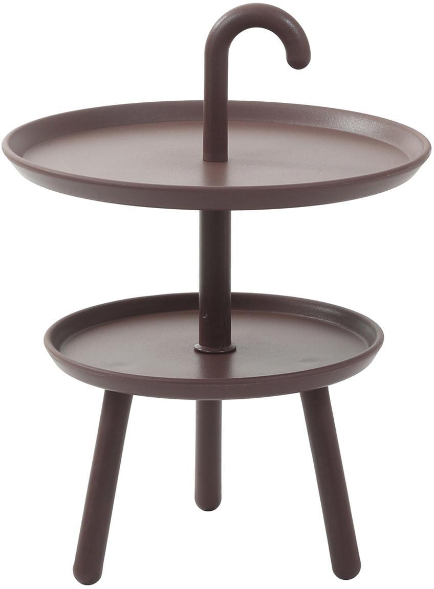 Mały stolik pomocniczy z tworzywa sztucznego Rodi, Polipropylen, Brązowy, Ø 42 x W 56 cm