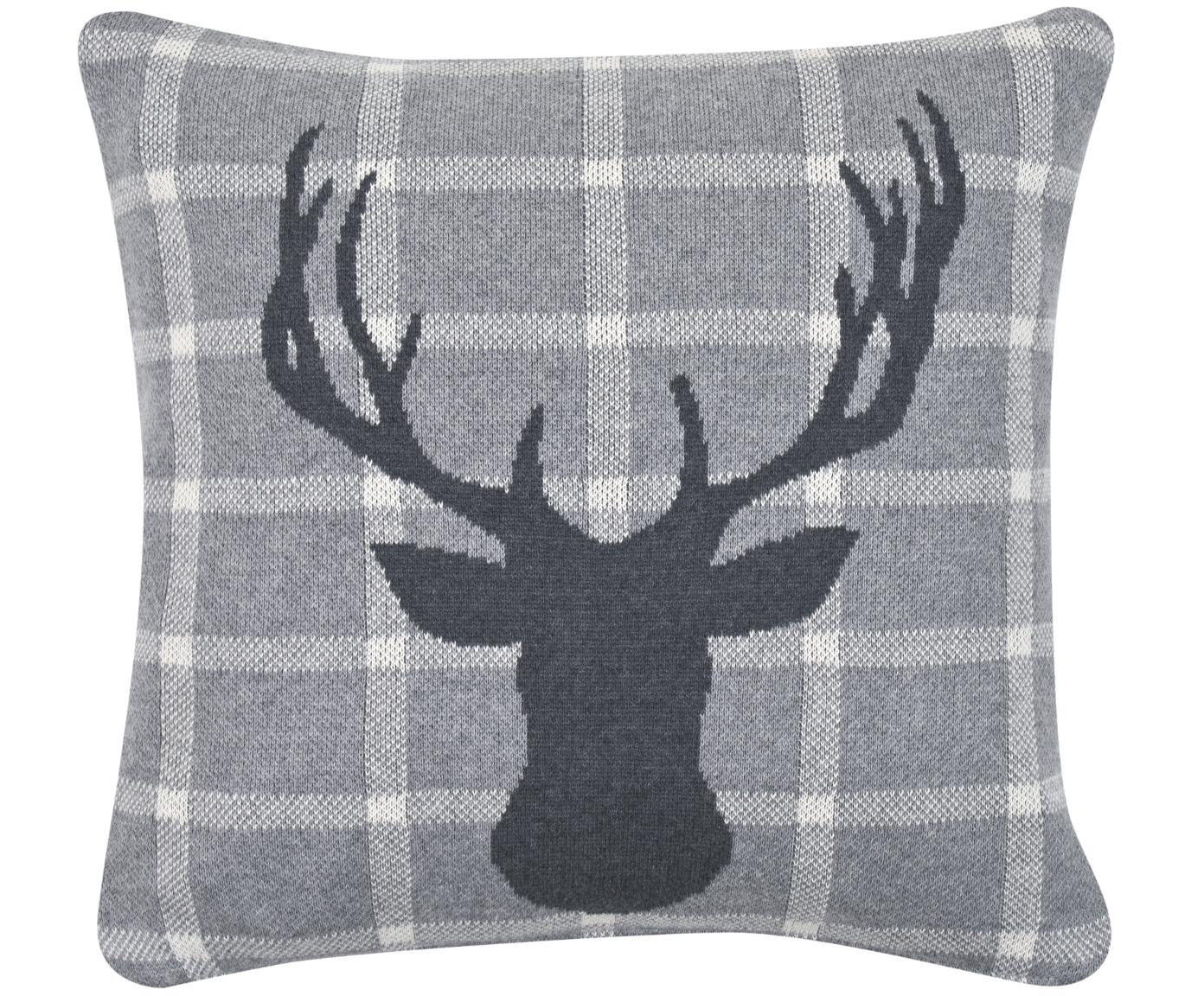 Dzianinowa poszewka na poduszkę Jonna, 100% bawełna, Szary, kremowy, S 40 x D 40 cm