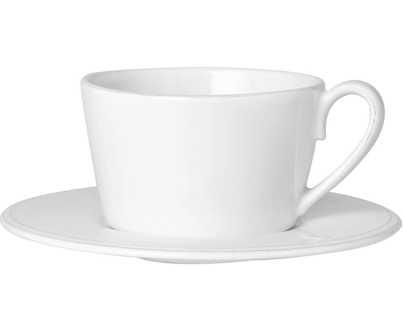 Taza de té con platito Constance, estilo rústico, Gres, Blanco, Ø 19 x Al 8 cm