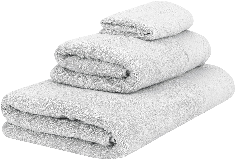 Komplet ręczników Premium, 3 elem., Jasny szary, Różne rozmiary
